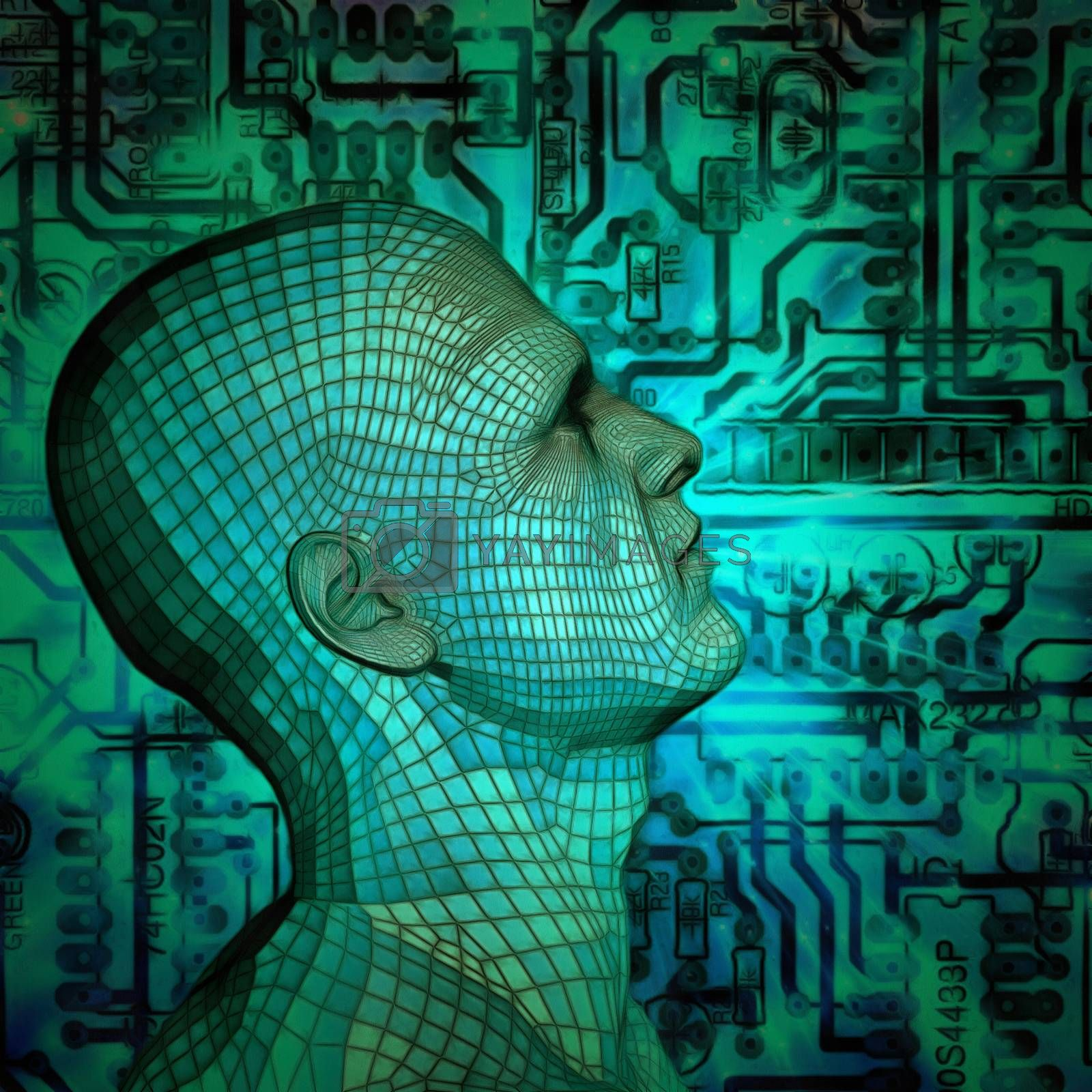Mans head with a circuit board. 3D rendering