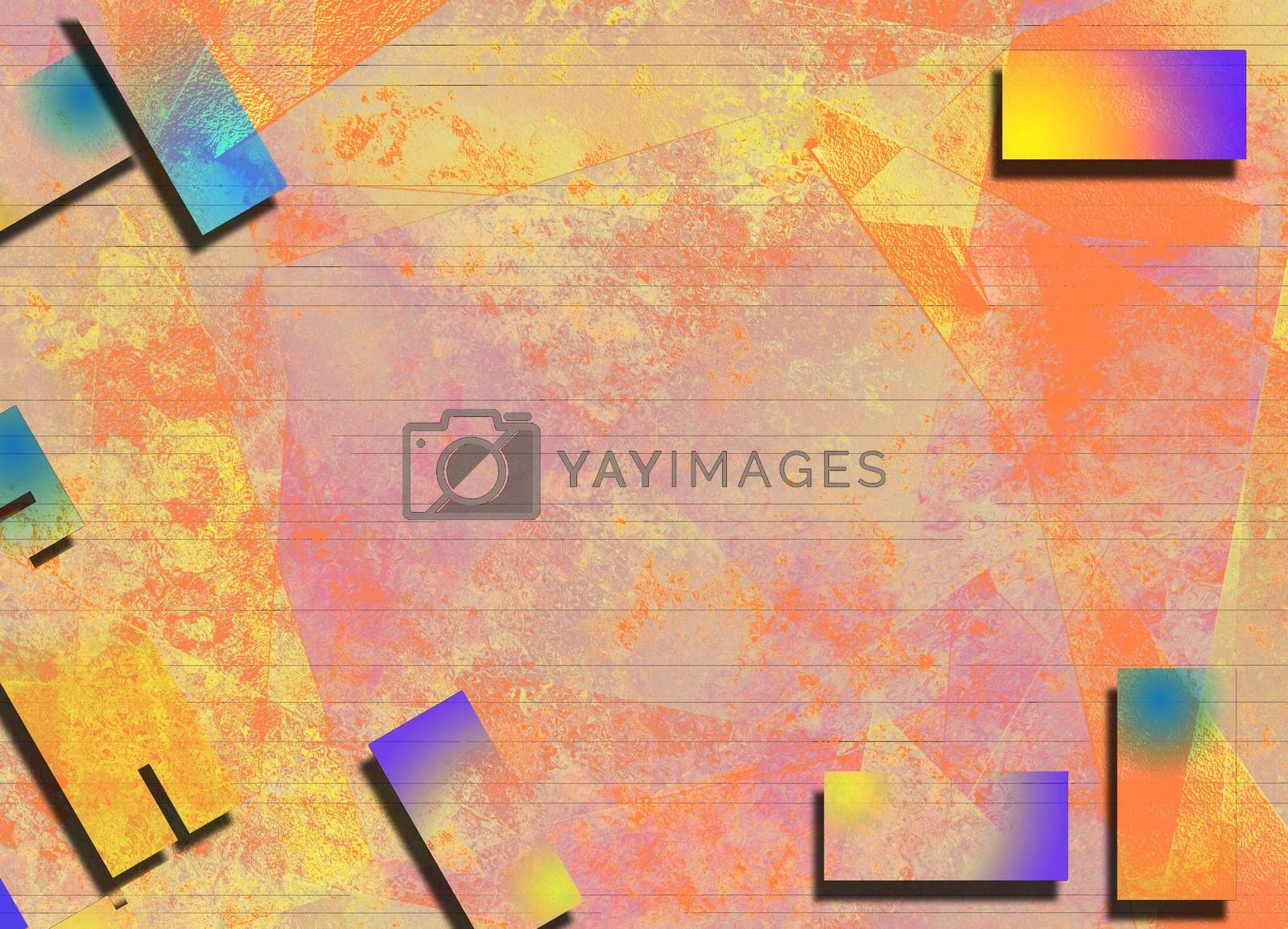 Abstract background in pink yellow soft colors. 3D rendering