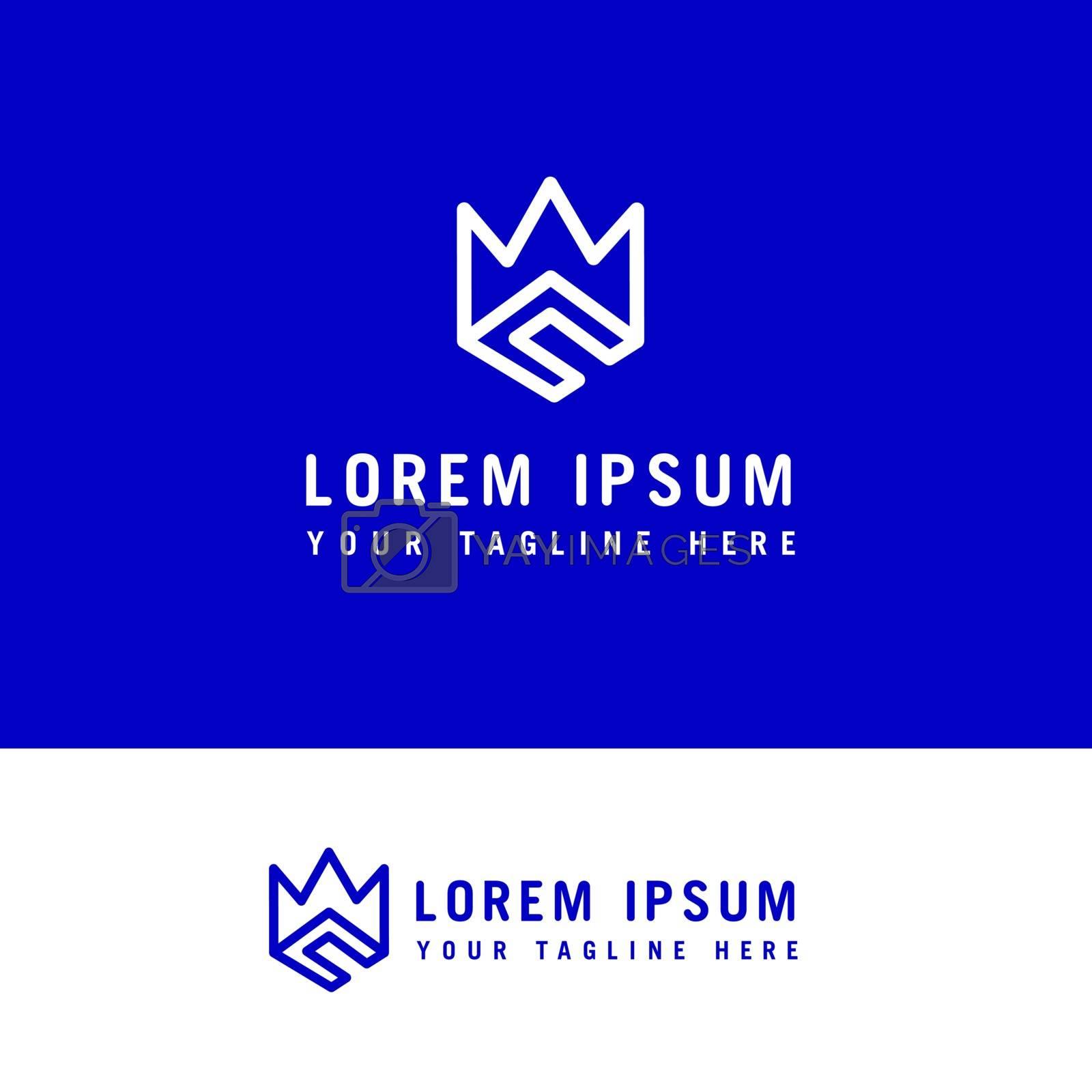 C crown logo icon , creative and minimal line art