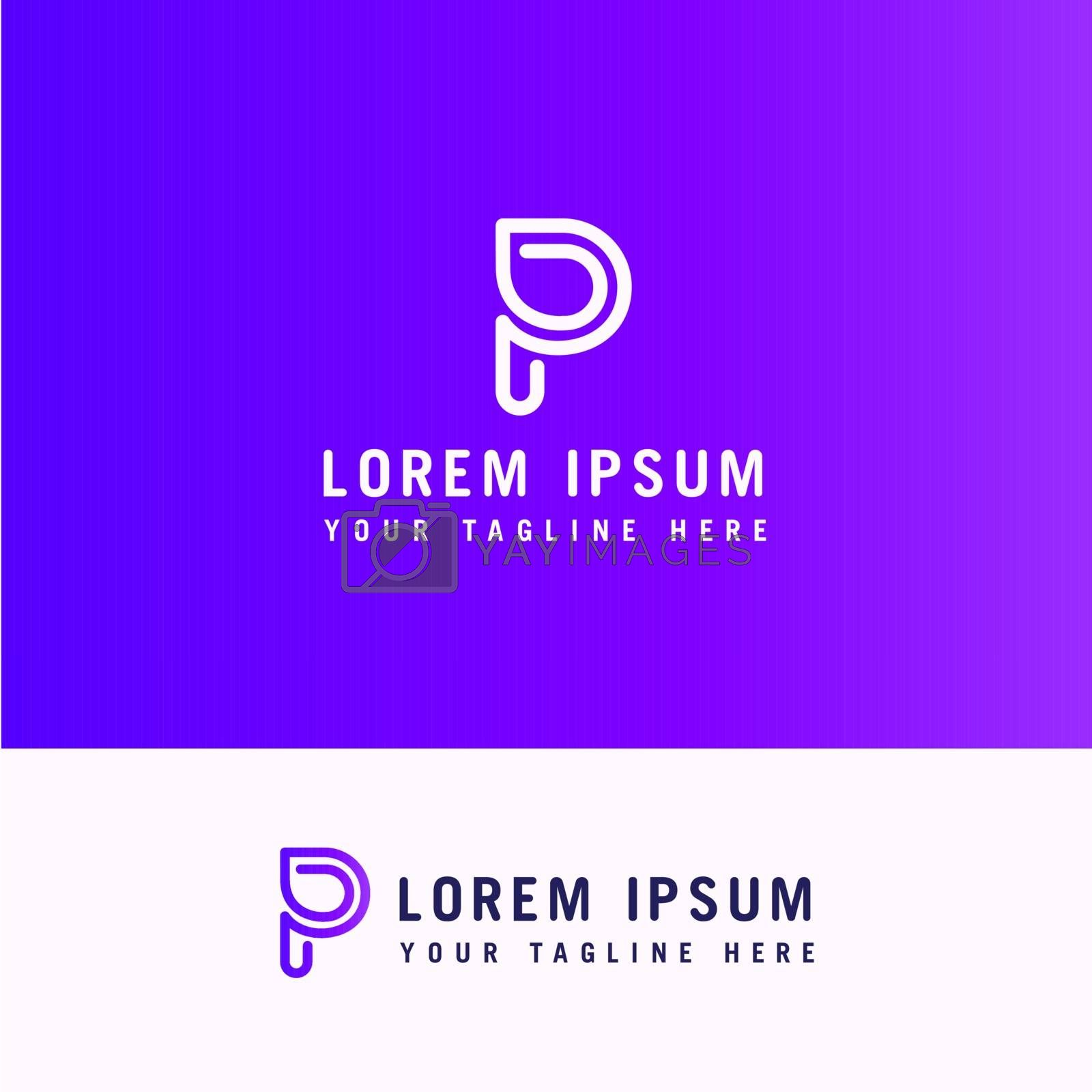 logo letter p line with minimalist style.