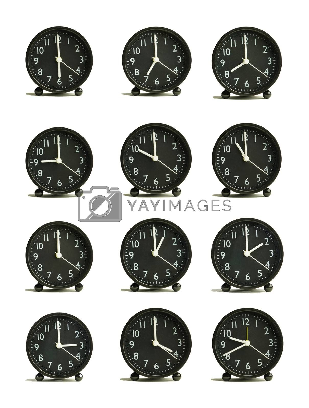 Abstract pattern analog clock showing different periods of time black isolated white background