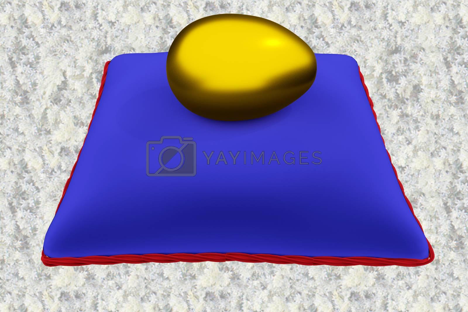 3D illustration of golden egg on blue velvet pillow, isolated over a pattern overlay.
