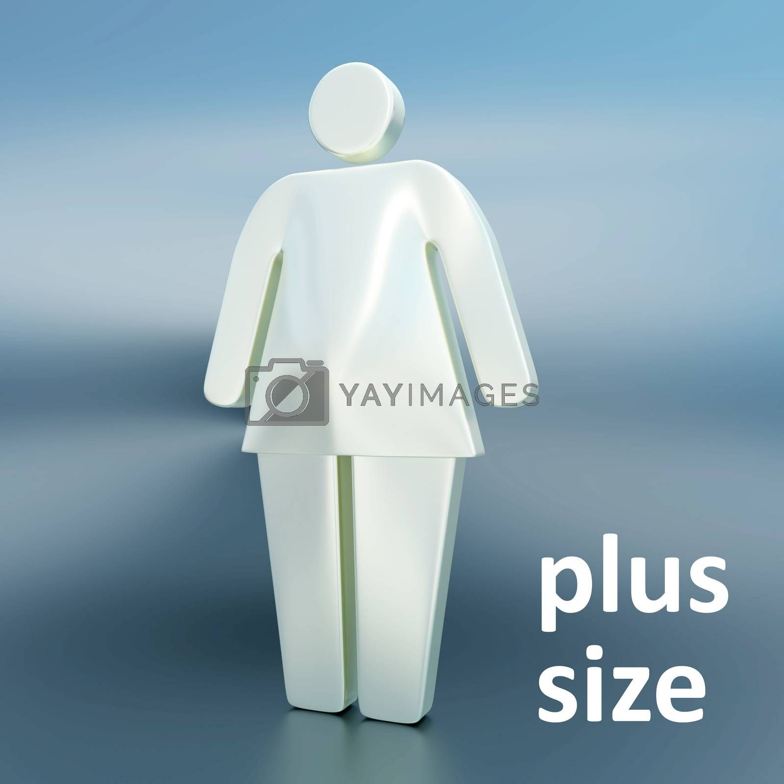 3D illustration of an overweight woman silhouette with plus size script, isolated over blue background.