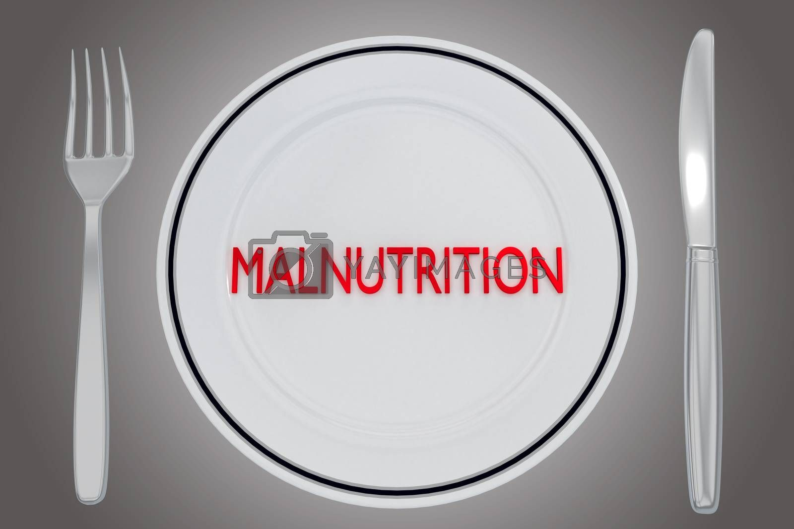 3D illustration of MALNUTRITION title on a white plate, along with silver knif and fork, over a gray gradient.