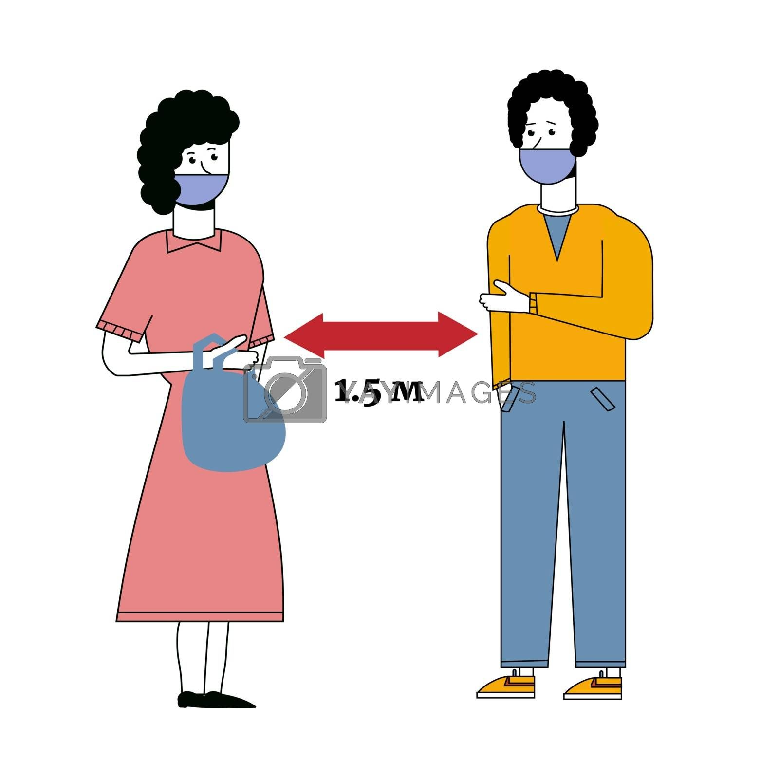 Social distancing greeting concept vector where two people avoid handshakes and keep their distance but their shadows almost touch to prevent spread of COVID-19.