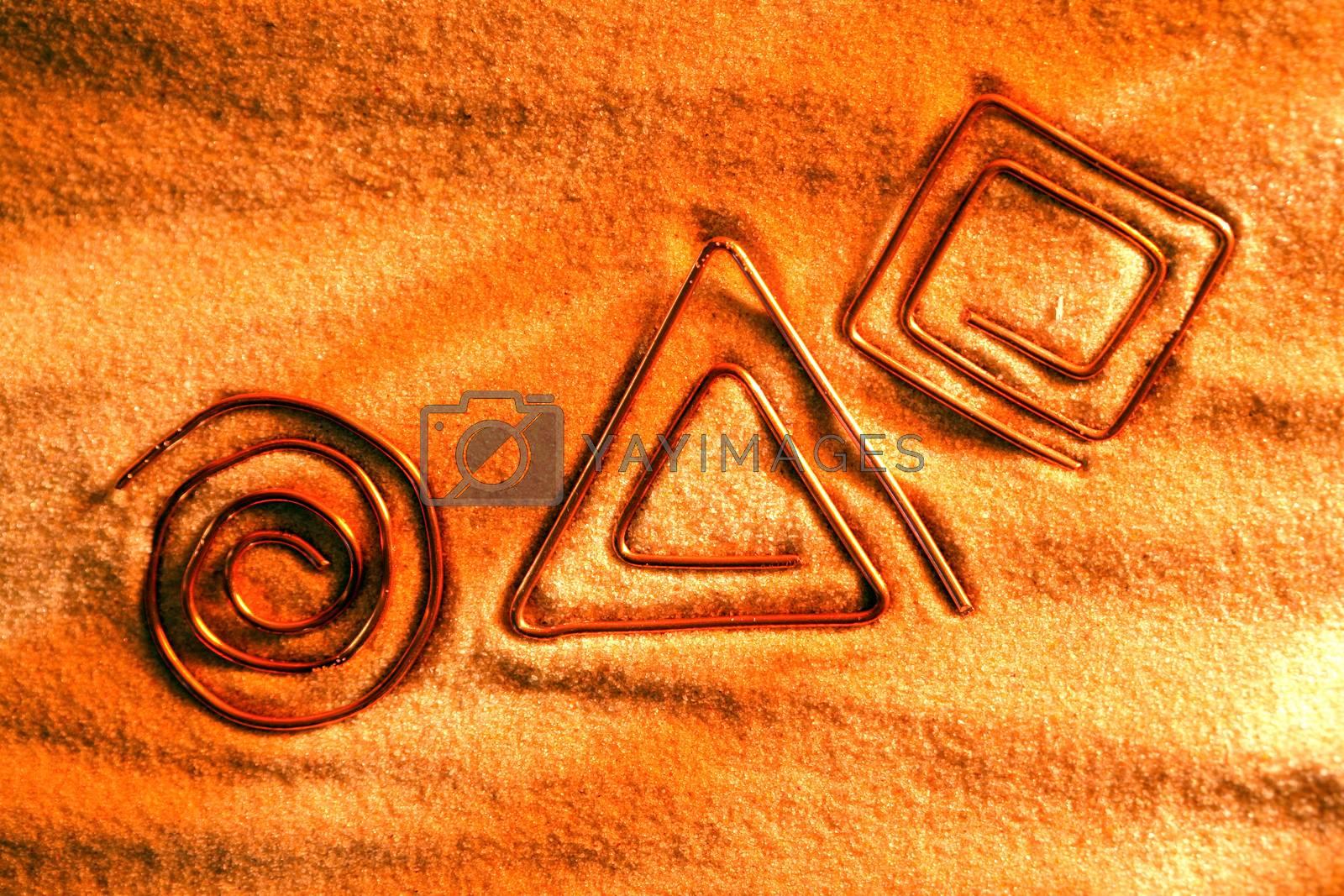 Royalty free image of Symbols On Sand by kvkirillov