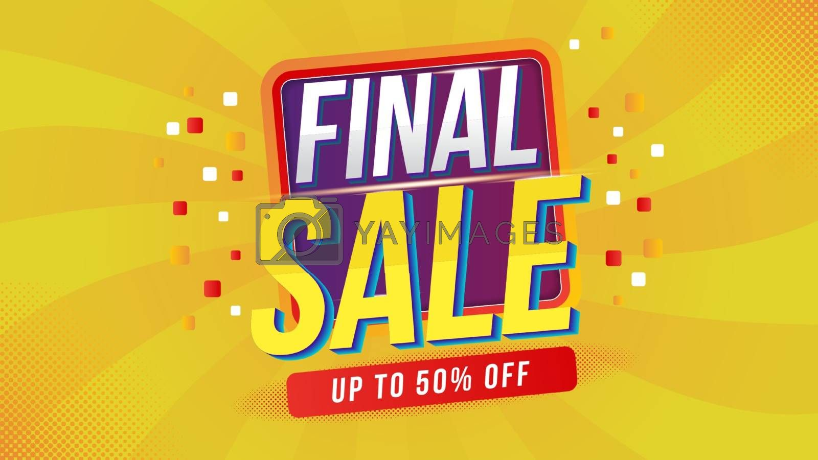 Final Sale banner clearance offer discout layout on yellow background with special percents off. Template design for list, page, mockup brochure style, banner, idea, cover, booklet, print and flyer.