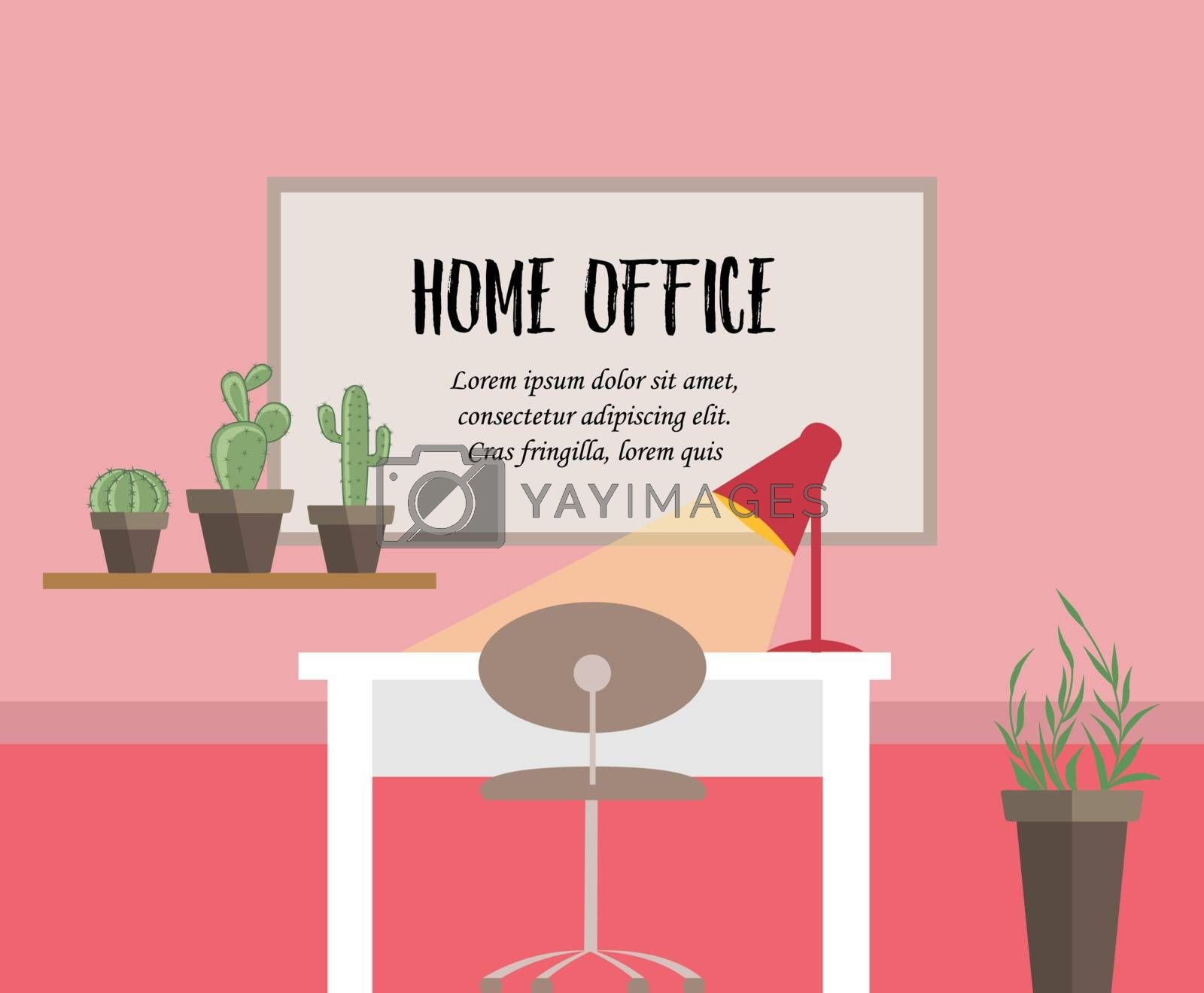 Vector illustration of home office. Room with table and lamp