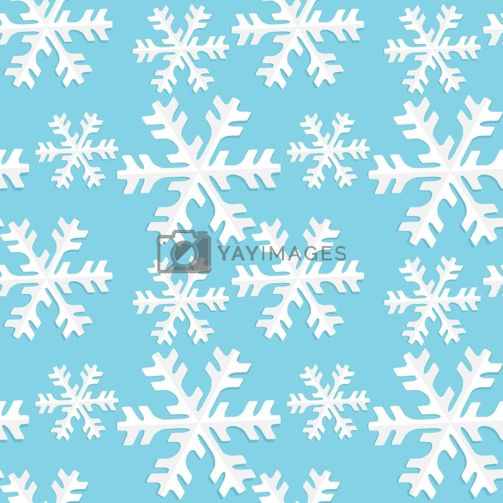 Vector illustration seamless pattern snowflake. Background Merry Christmas