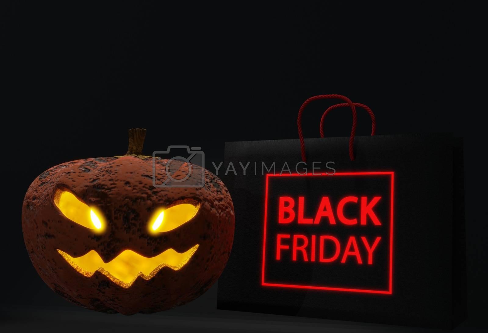 3d render illustrationillustration for greeting card, ad, promotion, poster, flier, blog, article, social media, marketing. Halloween sale shopping bag background