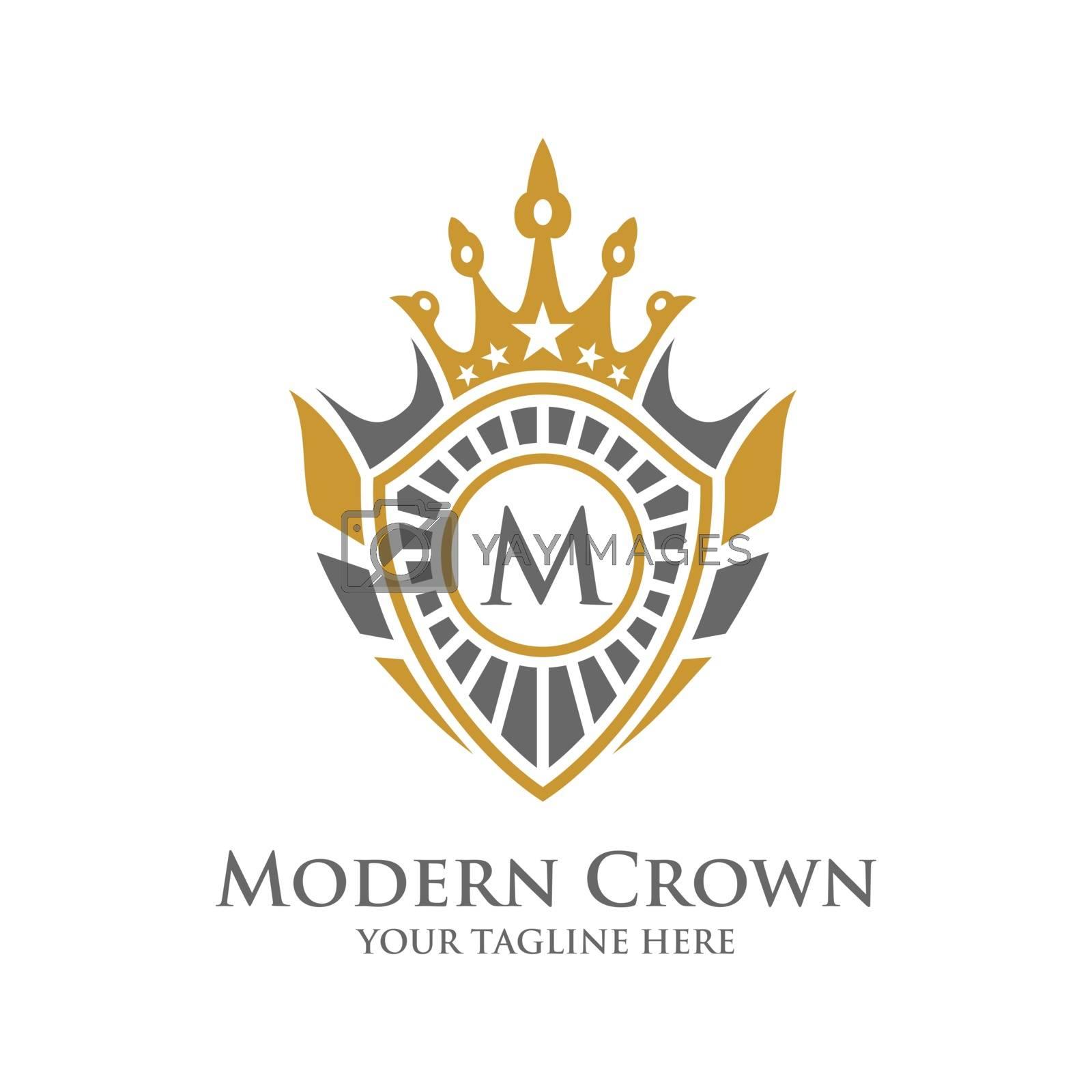 Heraldry Typography Vector Logo Design with Luxury Crown Decorative Frame