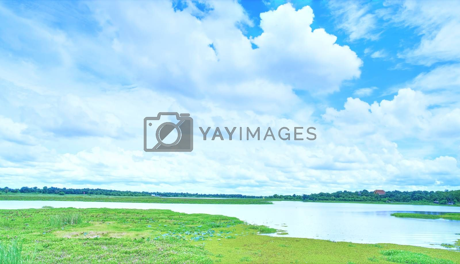 A vintage view of the afternoon river with dense clouds