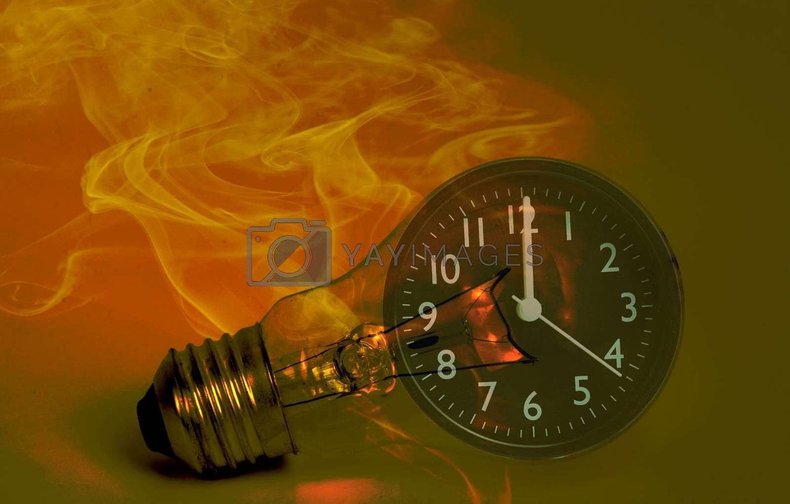Abstract a light bulb with soot from working and a black analog clock. Show the concept of saving resources on the planet, reducing electricity consumption for future generations.