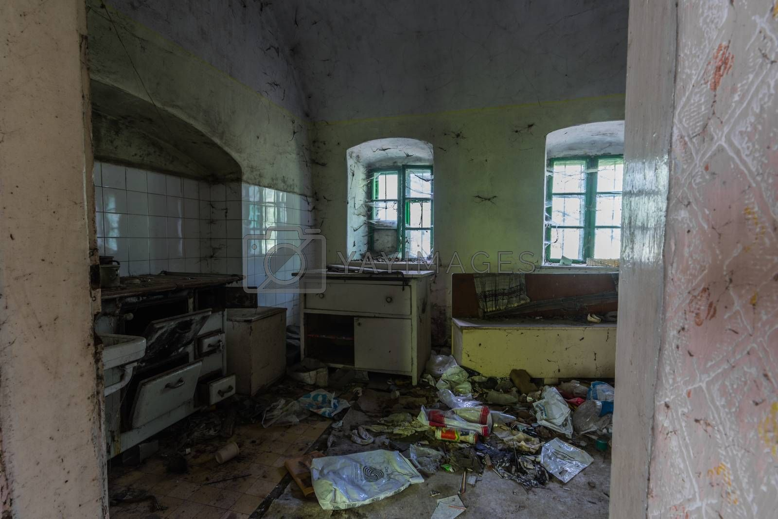 kitchen with garbage in an old house