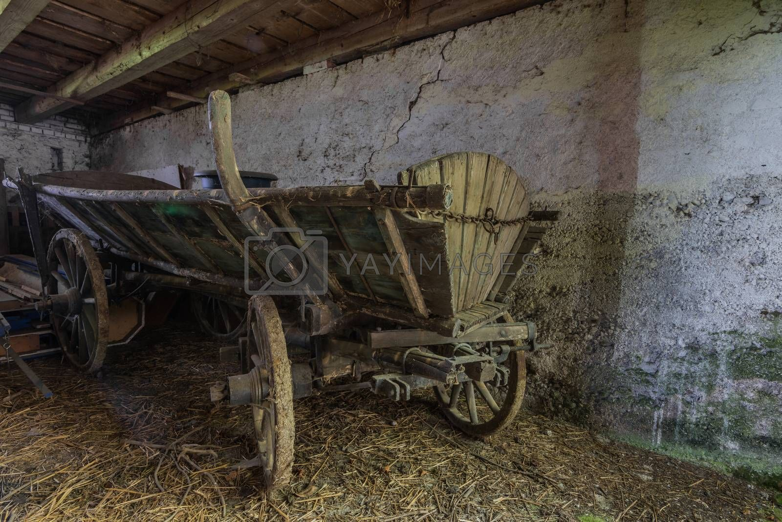 old wooden carriage at a farm
