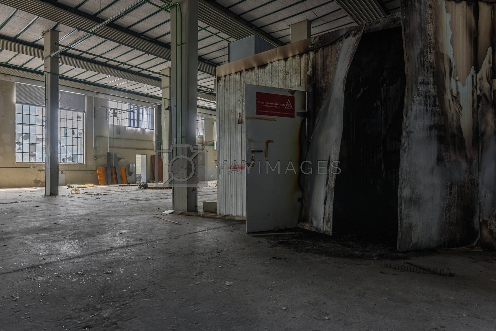Old empty halls in a factory