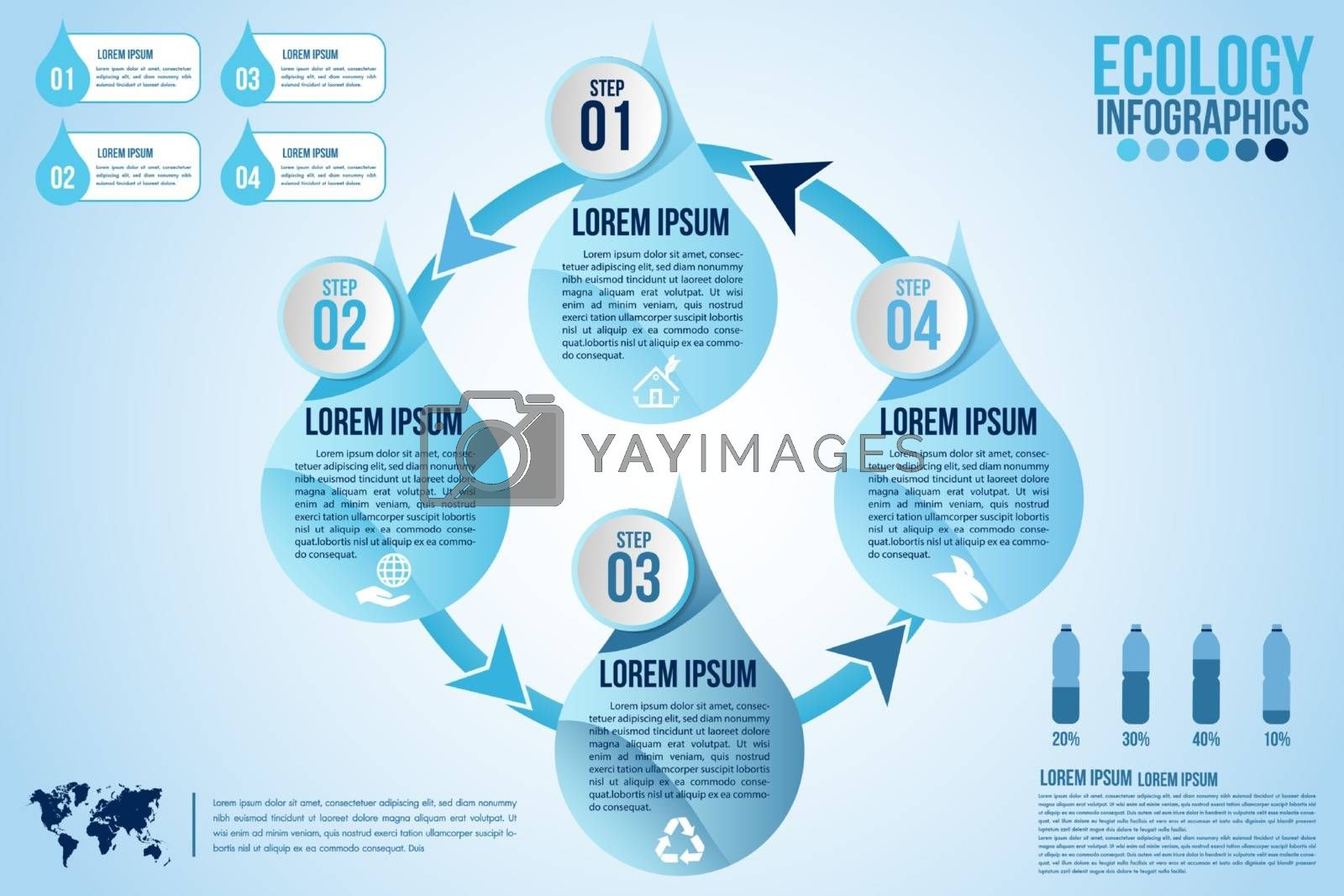 Infographic eco water blue design elements process 4 steps or options parts with drop of water. Ecology organic nature vector business template for presentation.Can be used for communication connect.