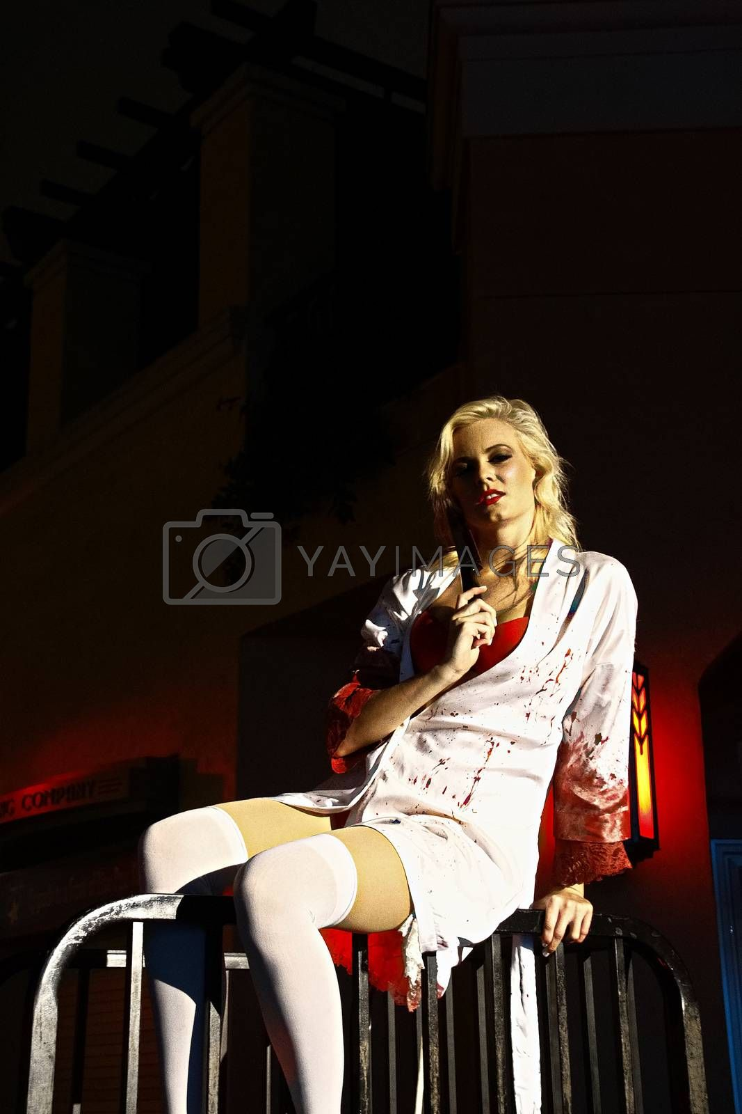 Royalty free image of Burlesque dancer in Halloween costume at Universal Studios Hollywood. by USA-TARO