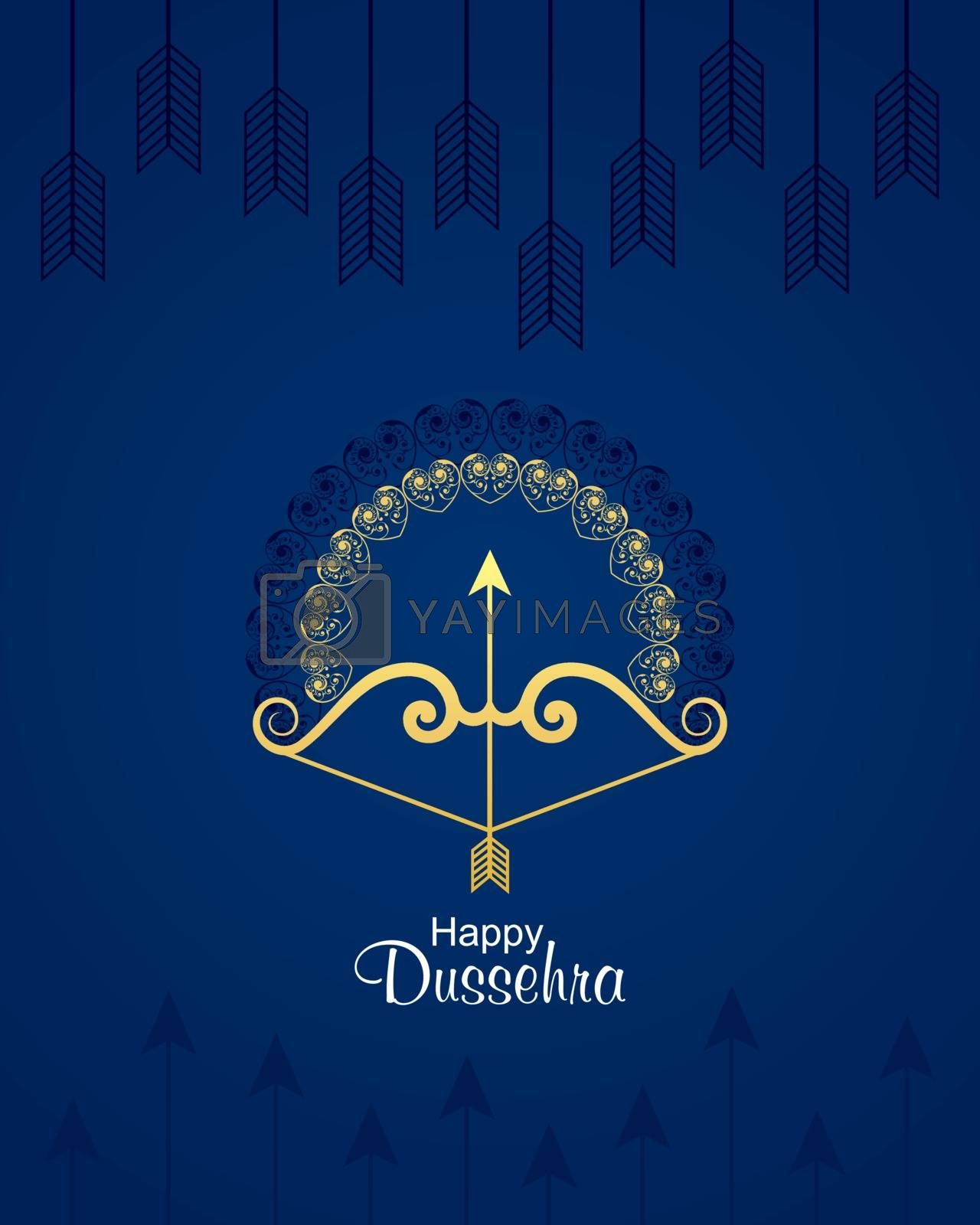 illustration of bow and arrow in Happy Dussehra festival of India background