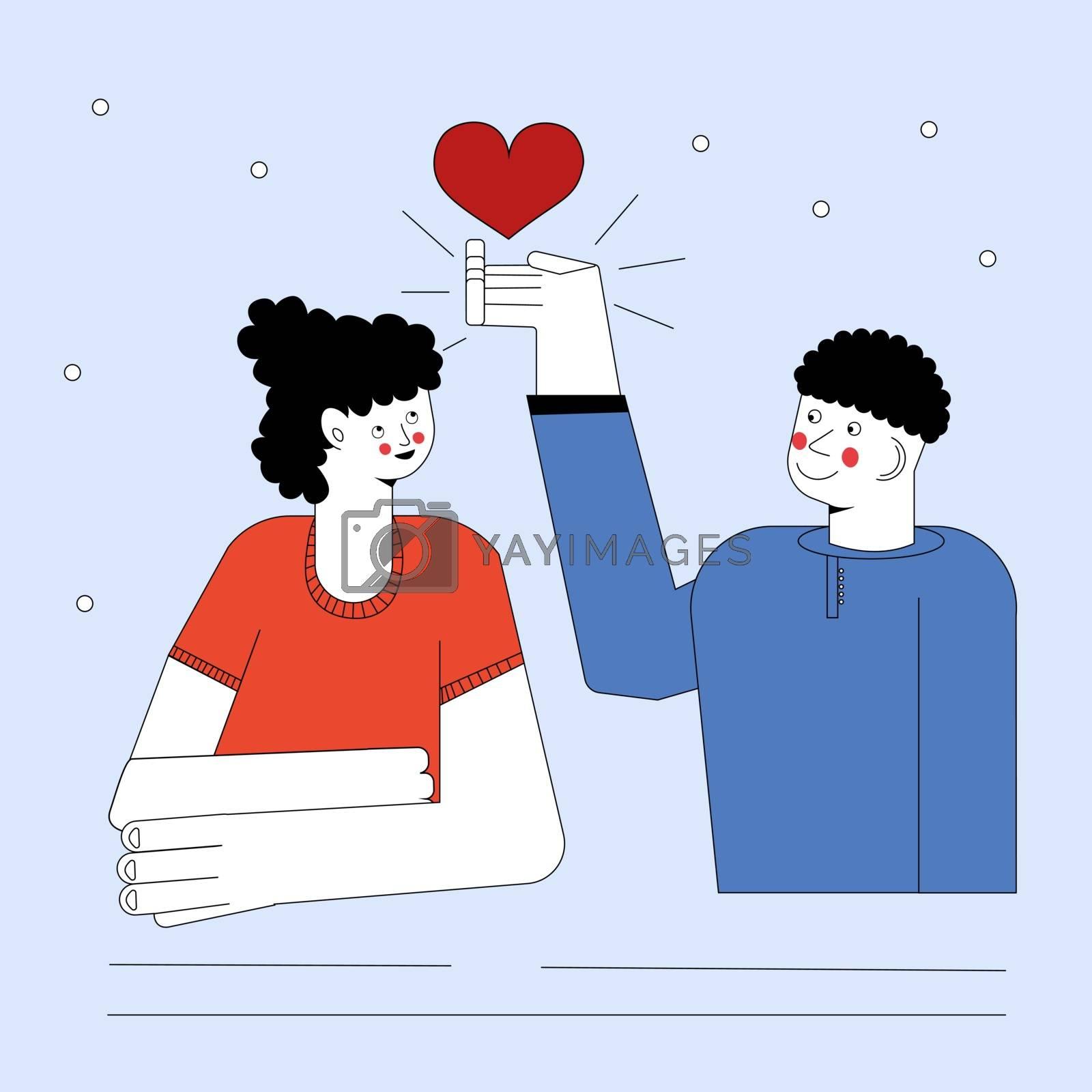 Boyfriend Giving to Girl Big Heart, Happy Loving Couple Vector Illustration.