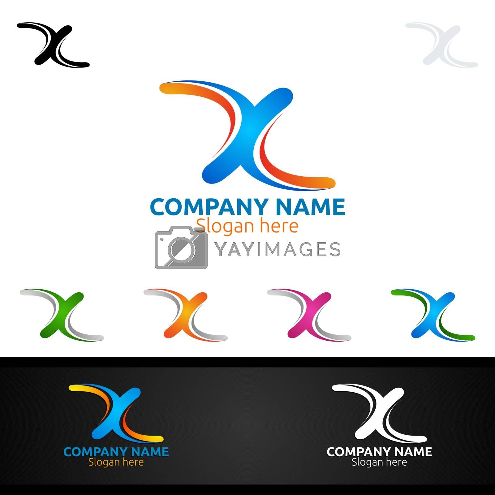 Letter X for Digital Vector Logo, Marketing, Financial, Advisor or Invest Design Icon