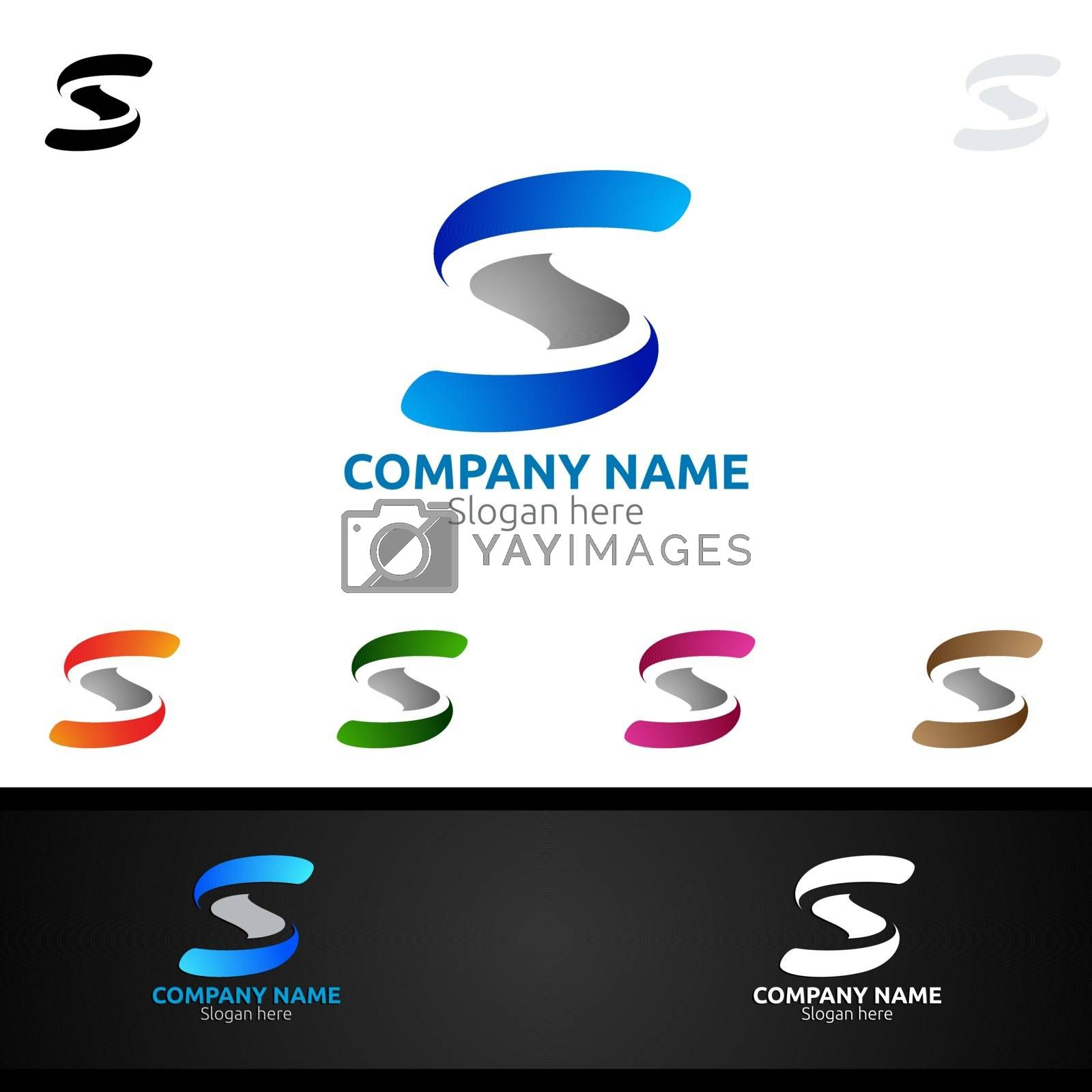 Letter S for Digital Vector Logo, Marketing, Financial, Advisor or Invest Design Icon