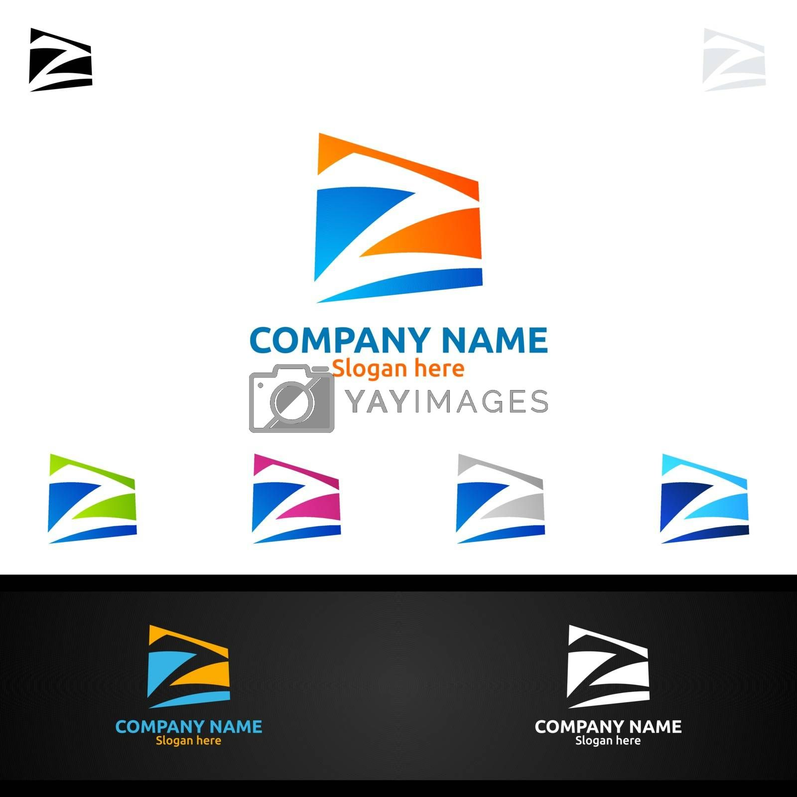 Letter Z for Digital Vector Logo, Marketing, Financial, Advisor or Invest Design Icon