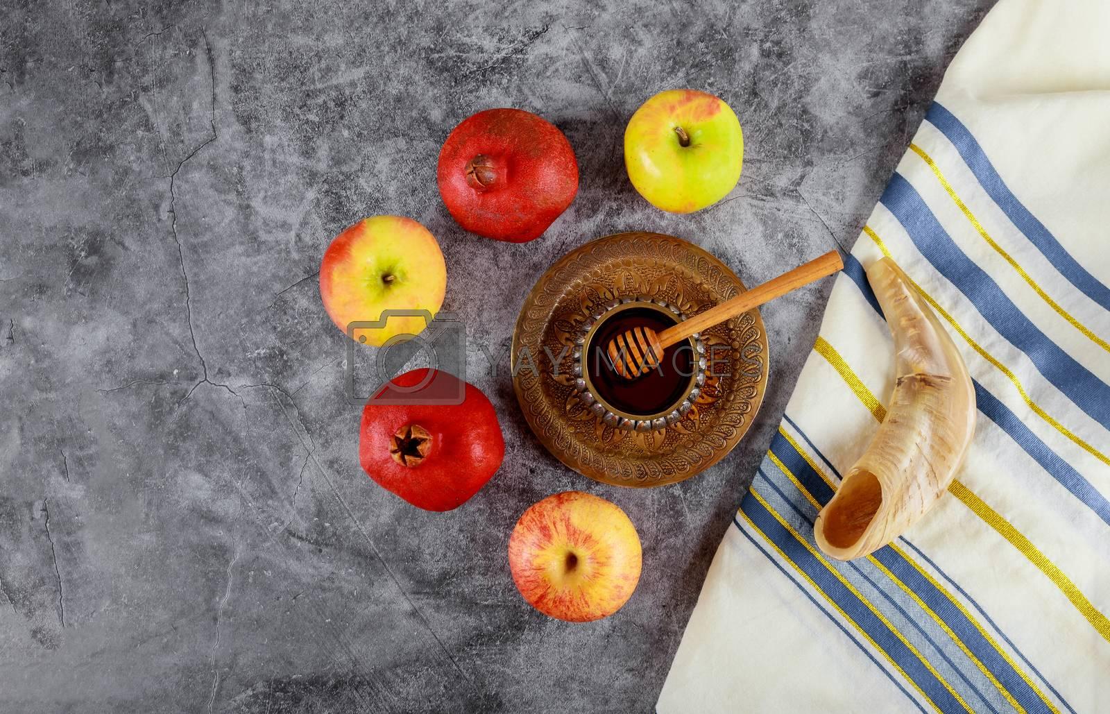 Synagogue of Rosh Hashanah apple and pomegranate, shofar talith