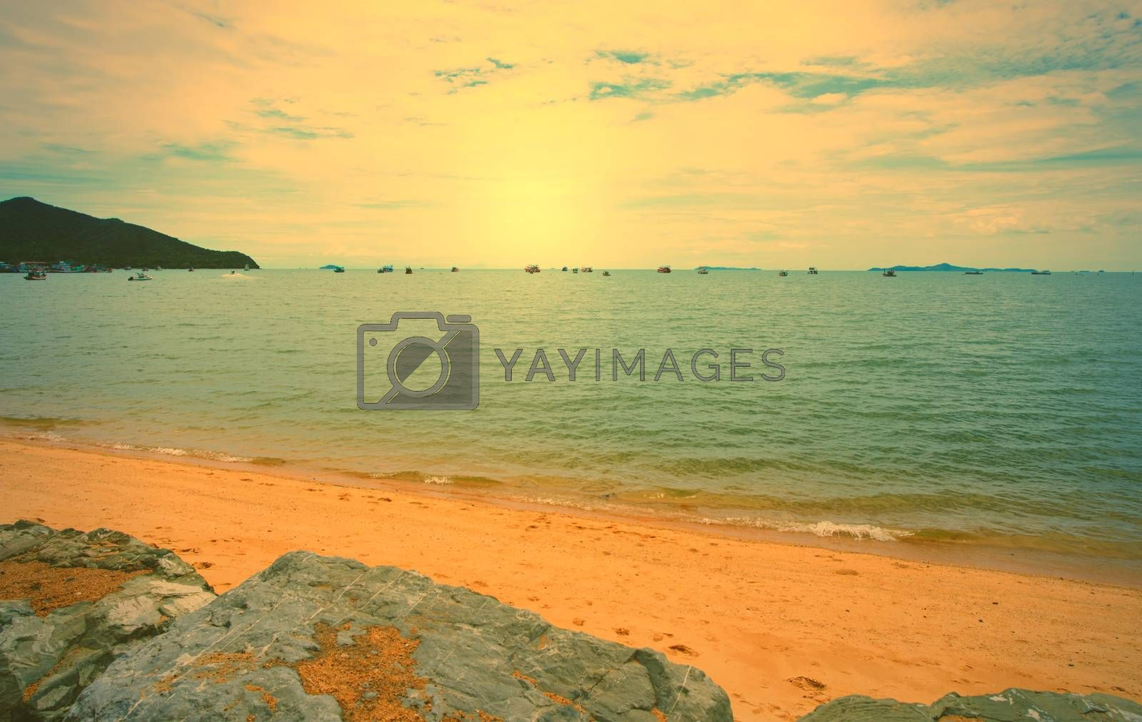 Abstract Vintage view of the sea in the fishing district of Thailand in the morning at sunrise.