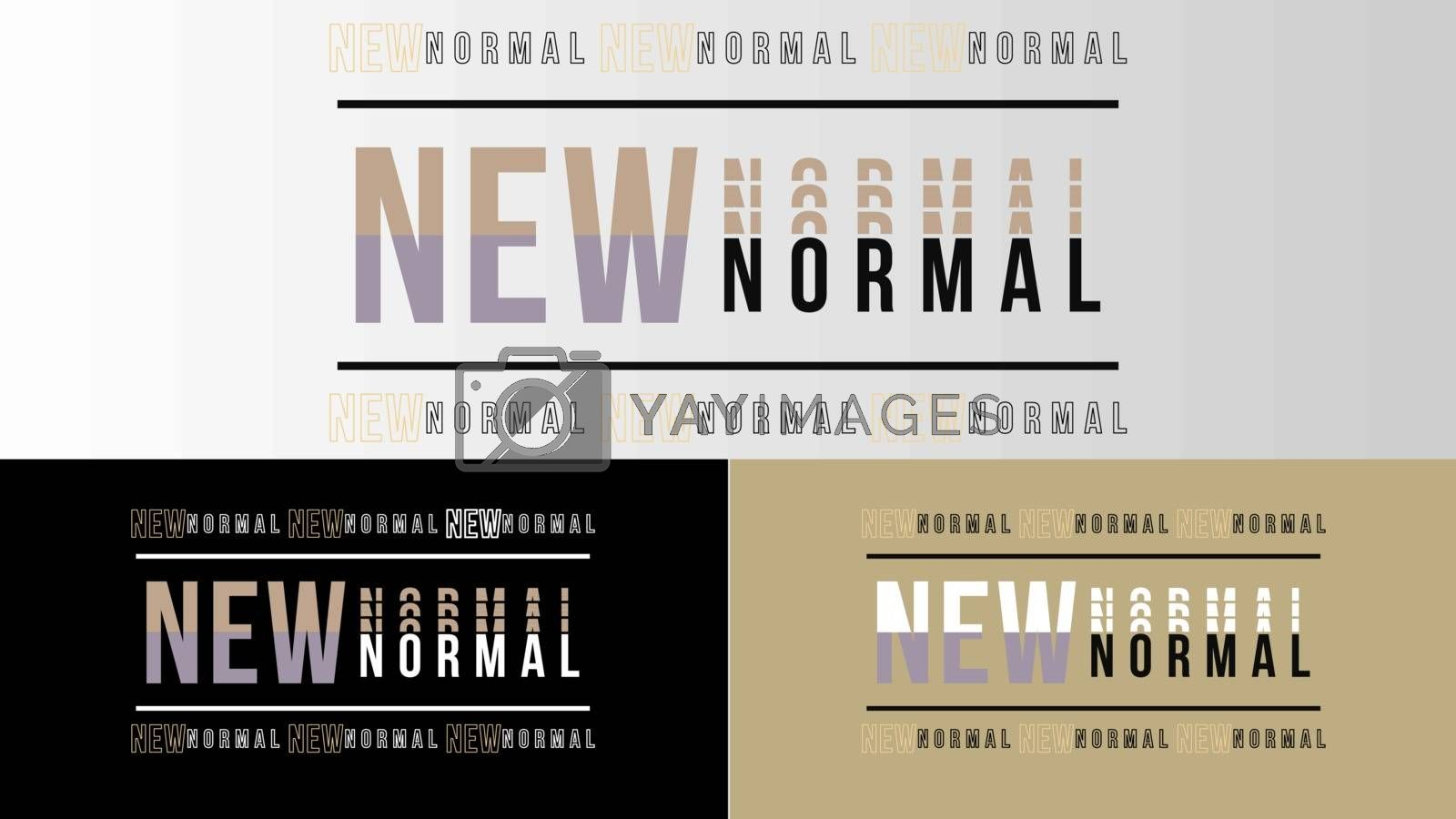 New normal text word design vector after covid 19 pandemic. New healthy lifestyle, wash your hands, wear a mask, physical distancing, work from home.Vector lifestye and social distancing concept.
