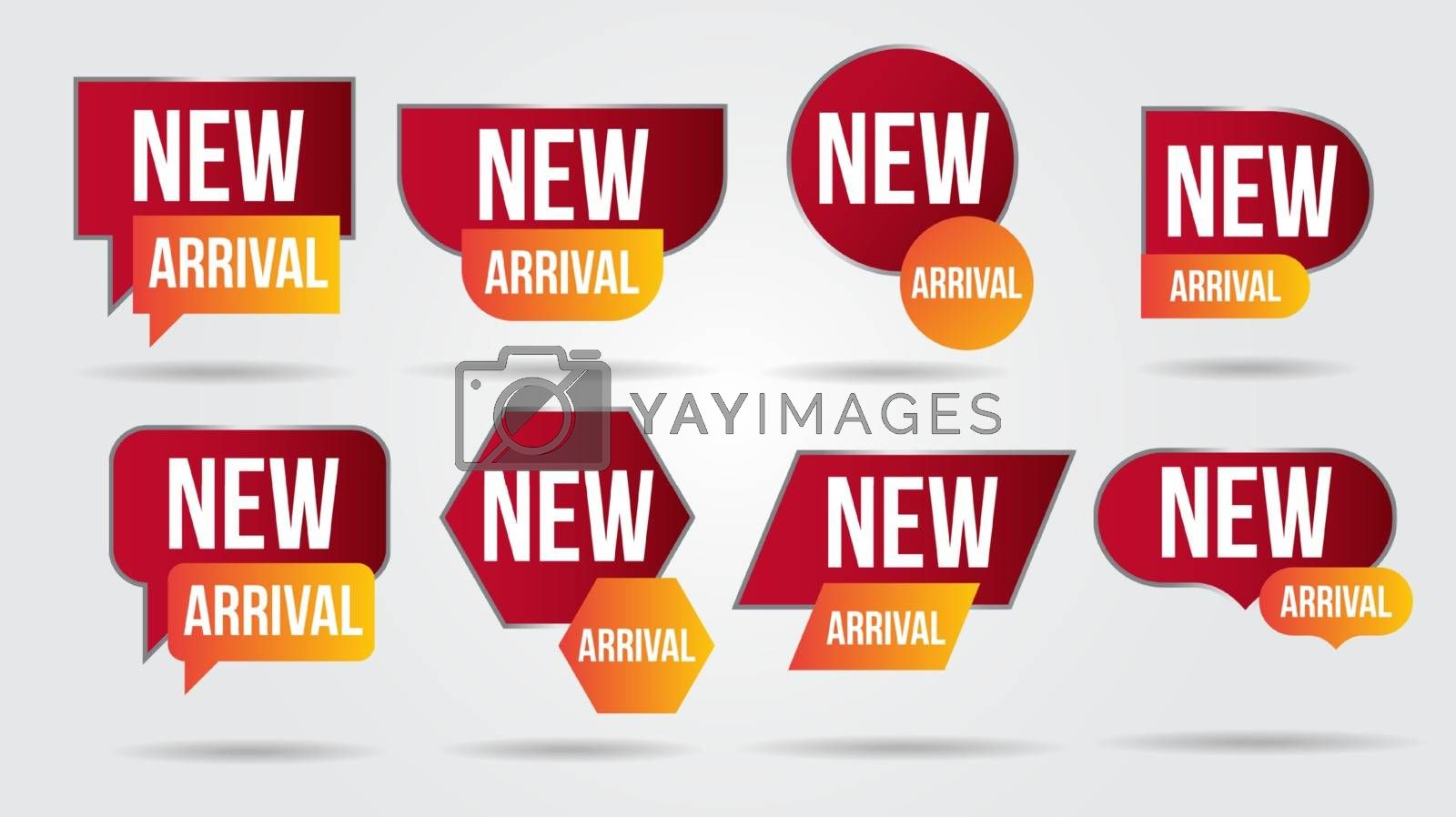 New arrival vector illustration collection labels shop products.Red promotion labels for arrivals shop section.Posters and banners sticker icons templates.