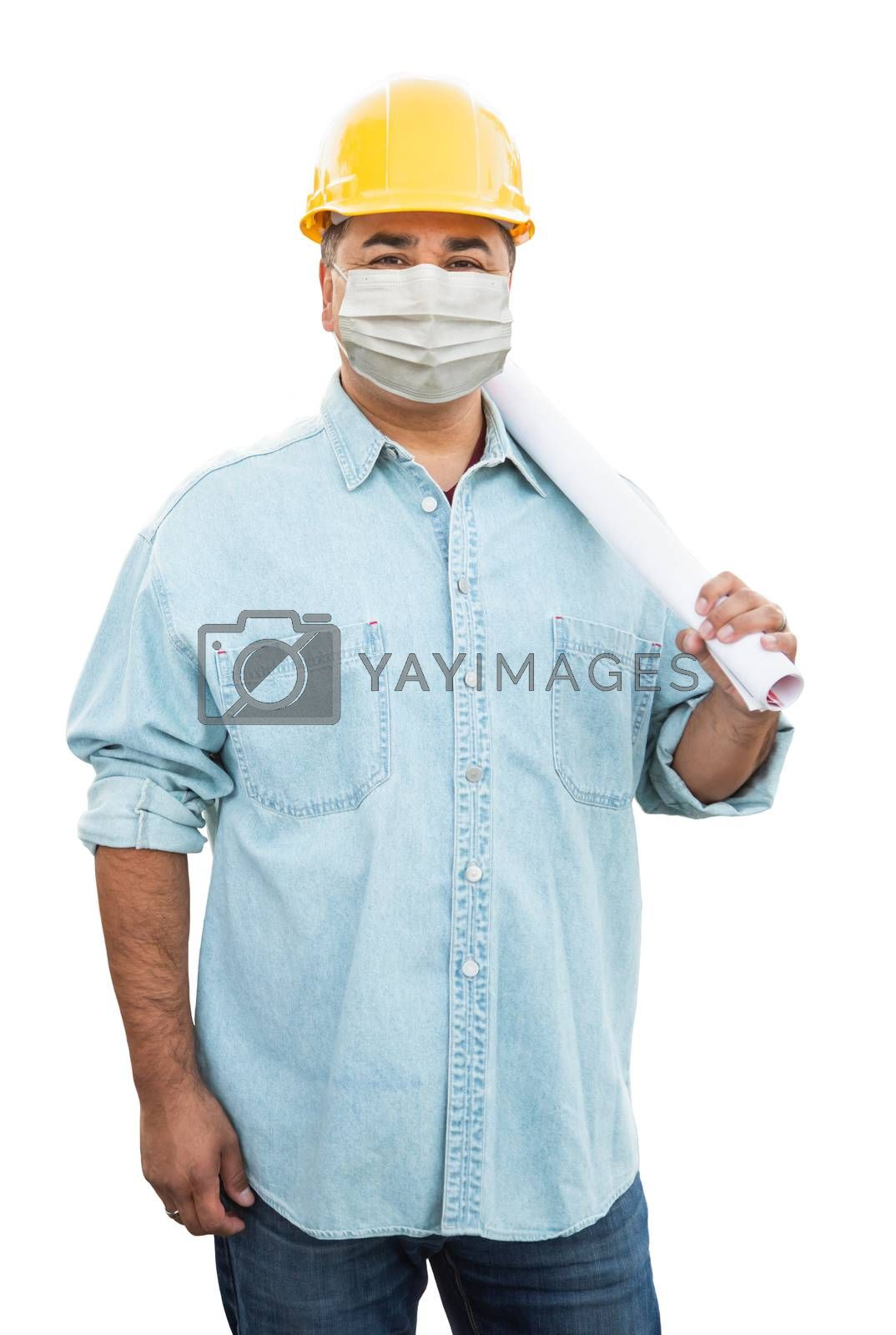 Male Contractor In Hard Hat Wearing Medical Face Mask During Coronavirus Pandemic Isolated on White.