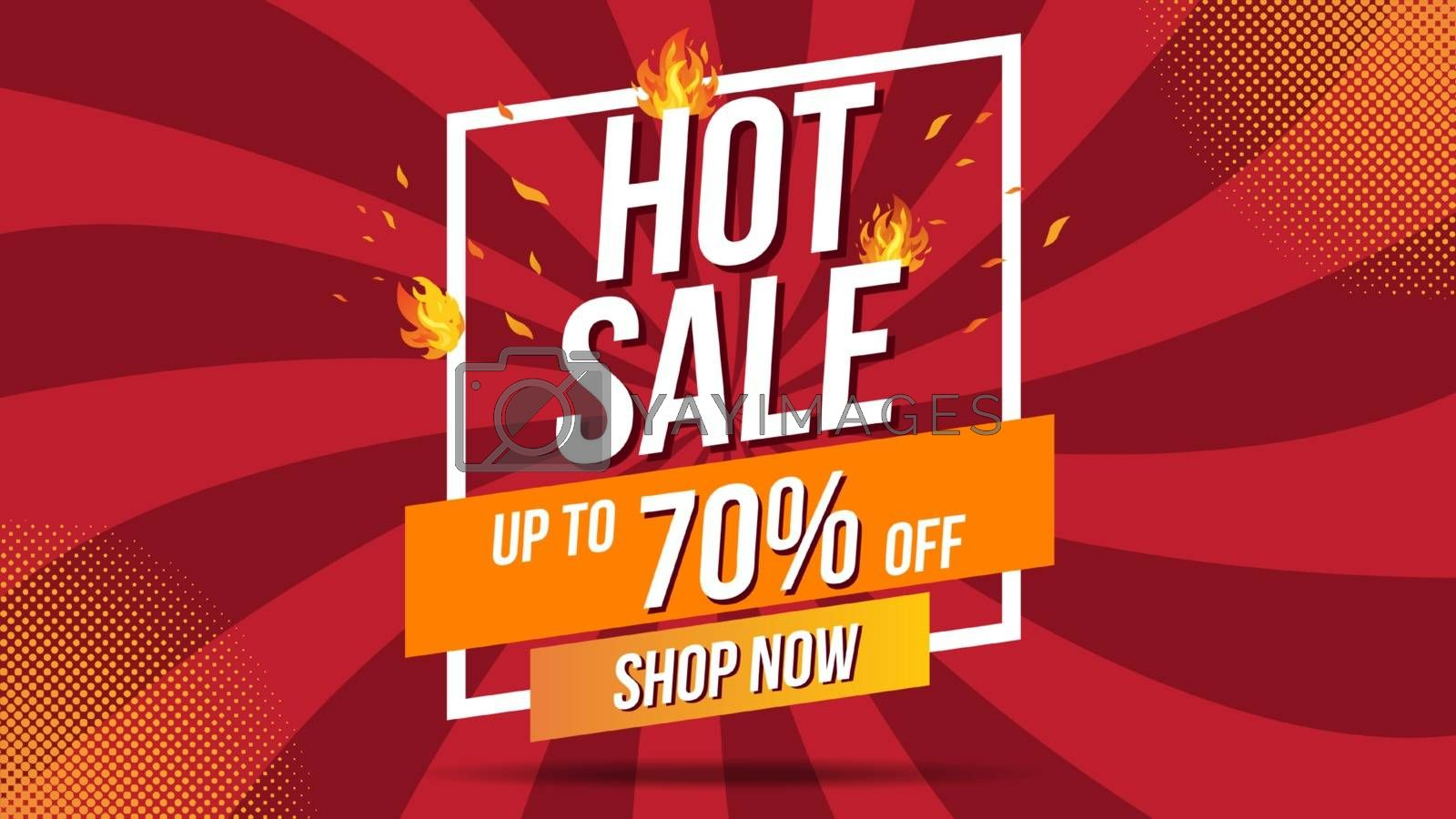 Hot Sale Fire Burn template banner concept design, Big sale special offer.End of season special offer banner shop now.Can be used for poster ,flyer and banner.