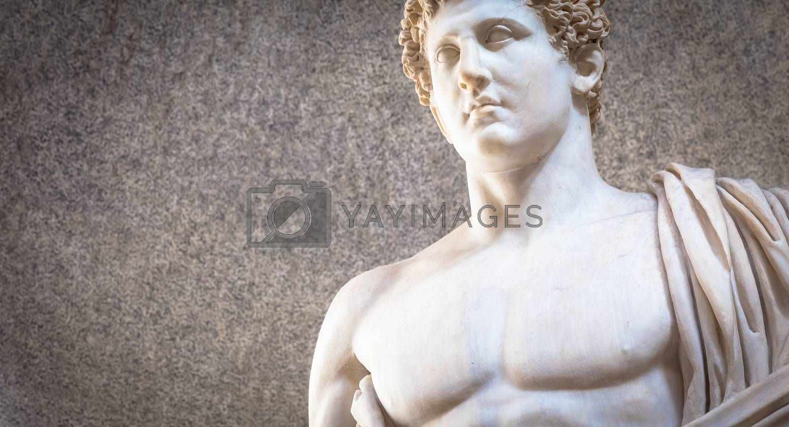 Copy of ancient marble statue with naked sensual chest - Roman interpretation of Greek original