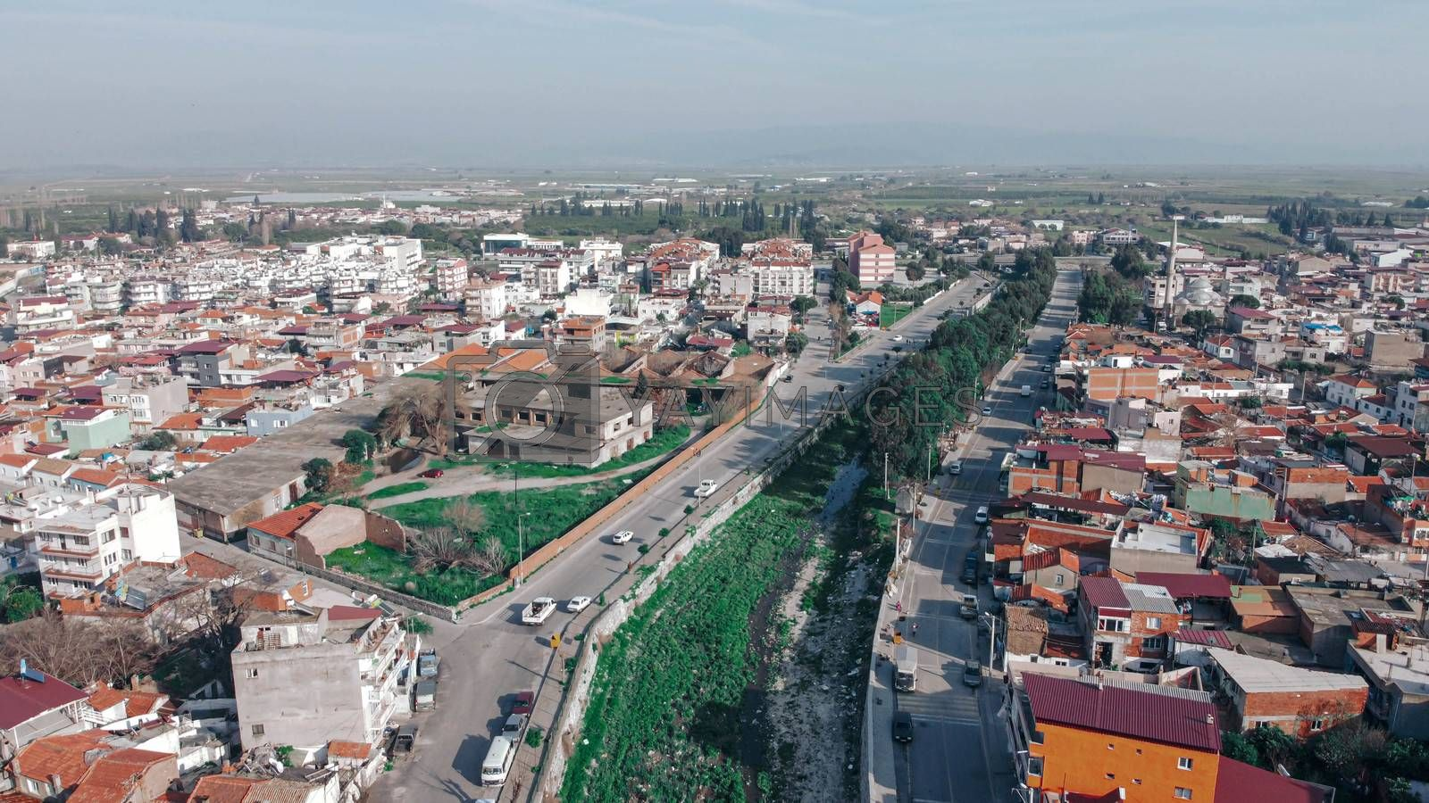 good looking wide aerial shoot from a little village with interesting angle - there is a creek over there. photo has taken at aydin/turkey.
