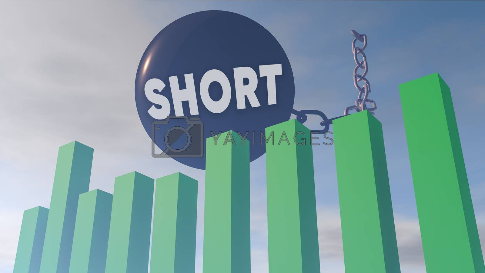 3D rendering illustration of financial stock market influenced by short trading