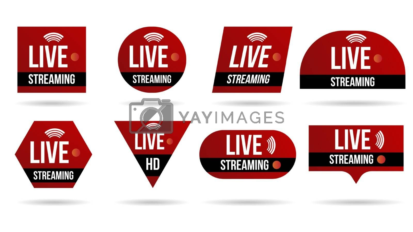 Set of live video streaming icons logo tv news banner interface. by Zeedoherty