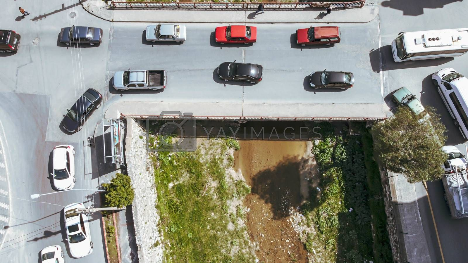 an bird view aerial shoot from a little village - there is a creek over there. photo has taken at aydin/turkey.