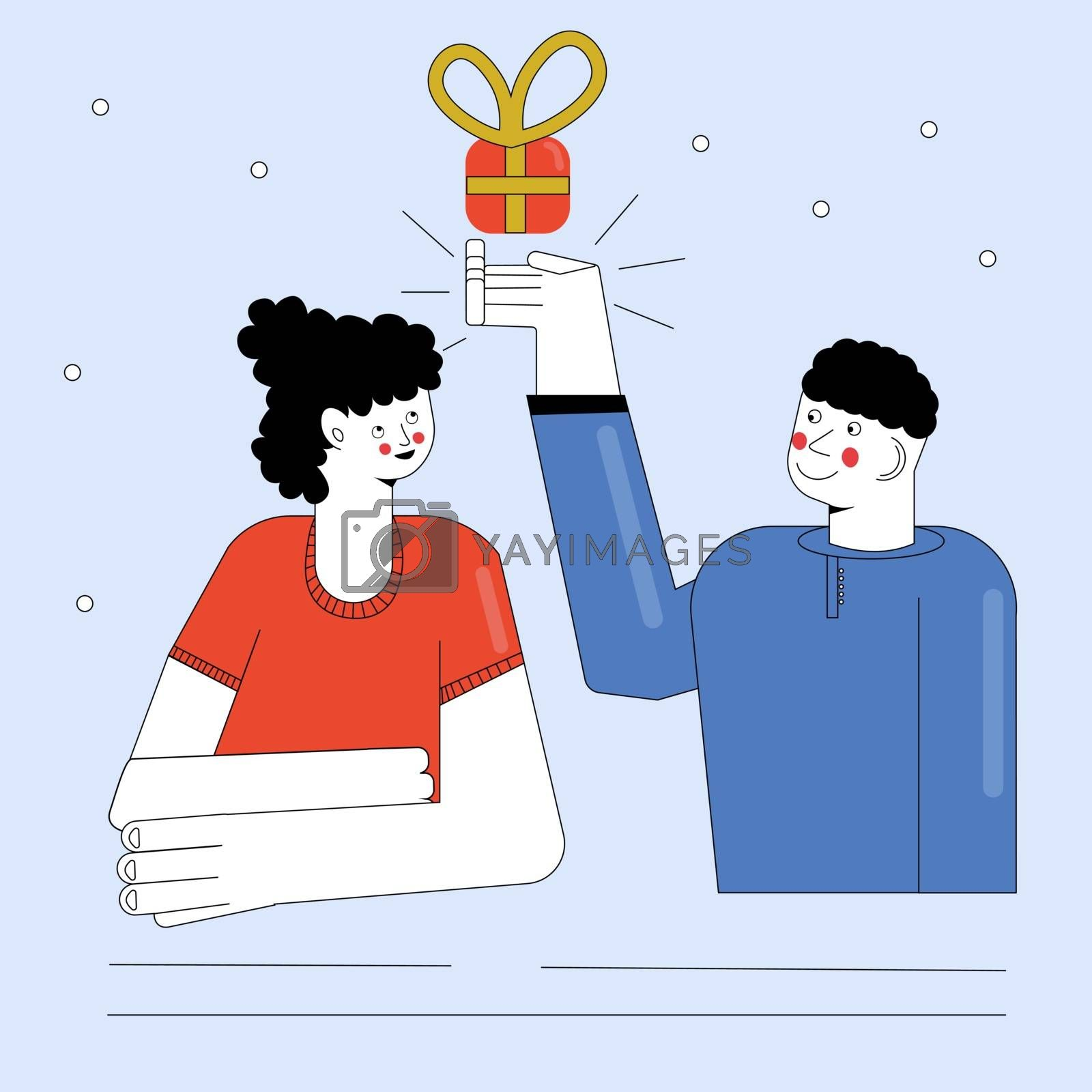 cartoon boy giving girl a gift box with heart vector