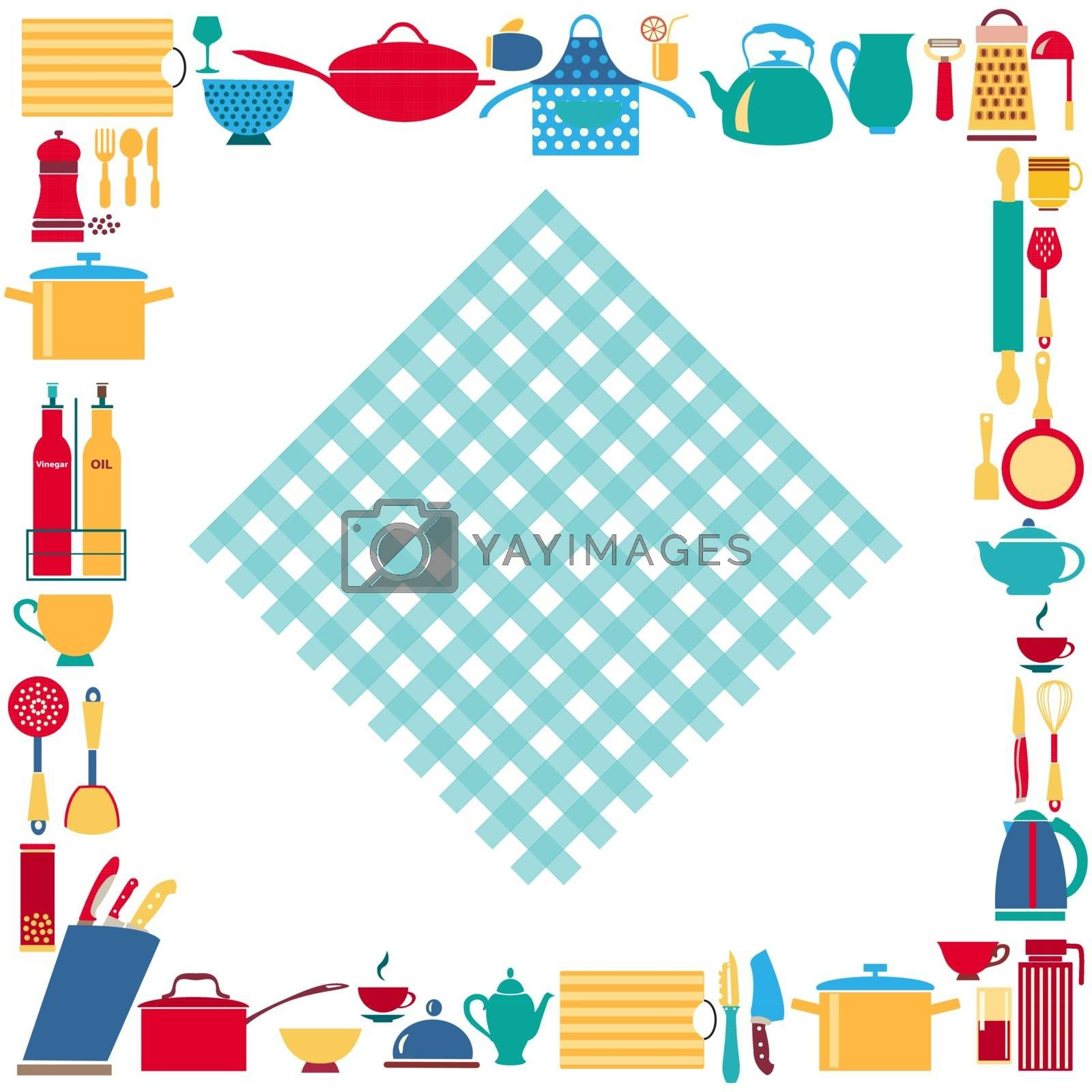 Set of kitchenware and restaurant utensils vector background. Can be used in banner,  publications, postcards, print, poster.