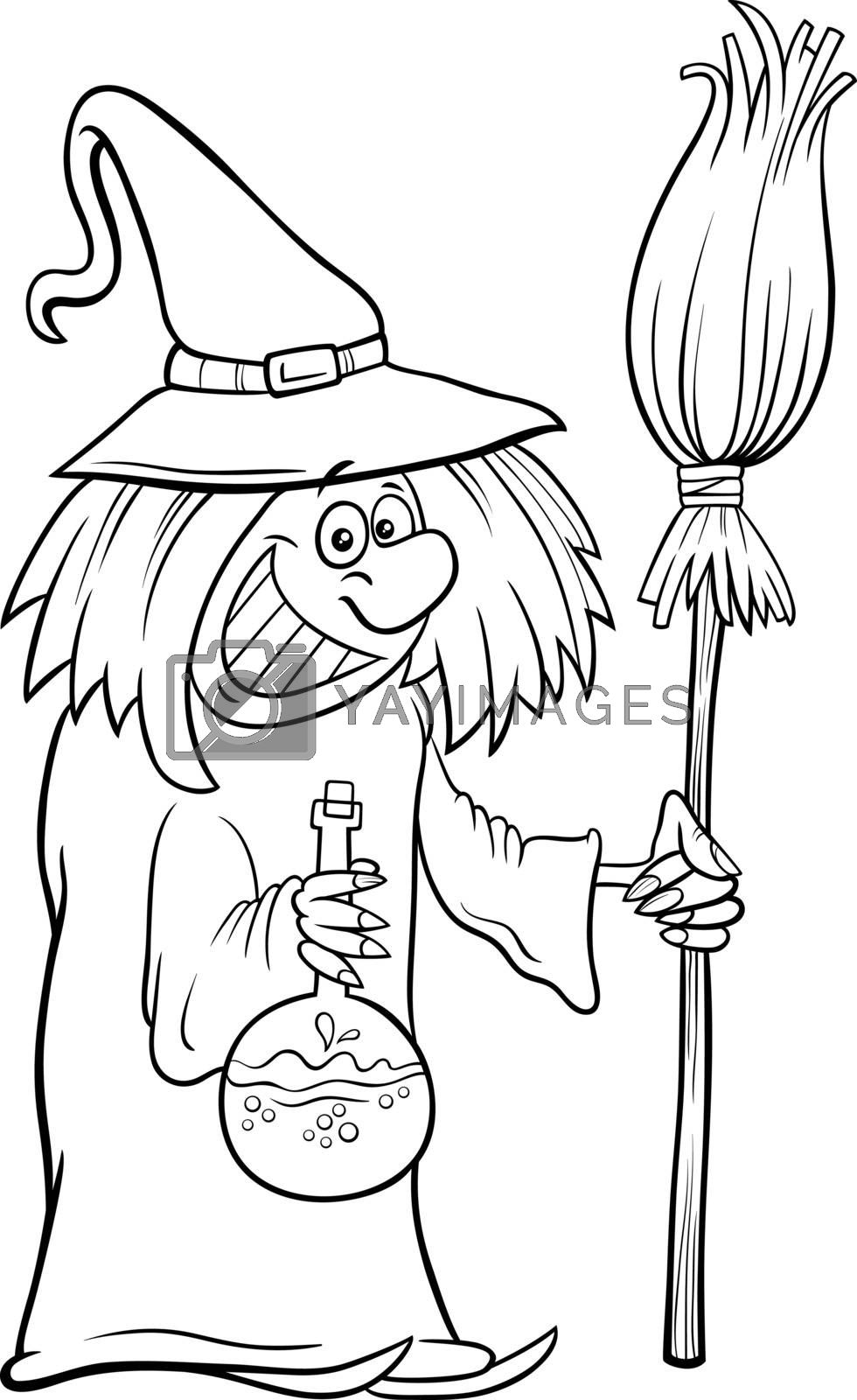 Black and White Cartoon Illustration of Funny Witch with Broom Halloween Character Coloring Book Page