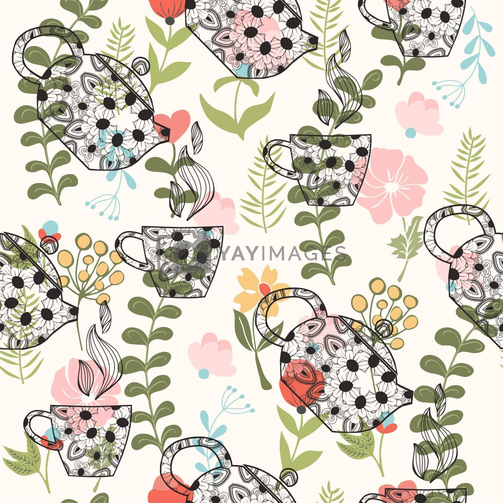 Hand drawn seamless pattern with decorative teapots and cups on Cute Floral background in vintage style.