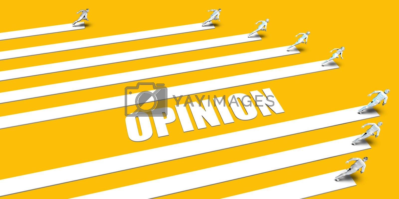 Opinion Concept with Business People Running on Yellow