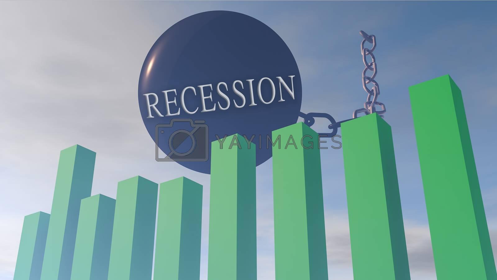 3D rendering illustration of financial stock market influenced by 3D rendering illustration of financial stock market influenced by recession