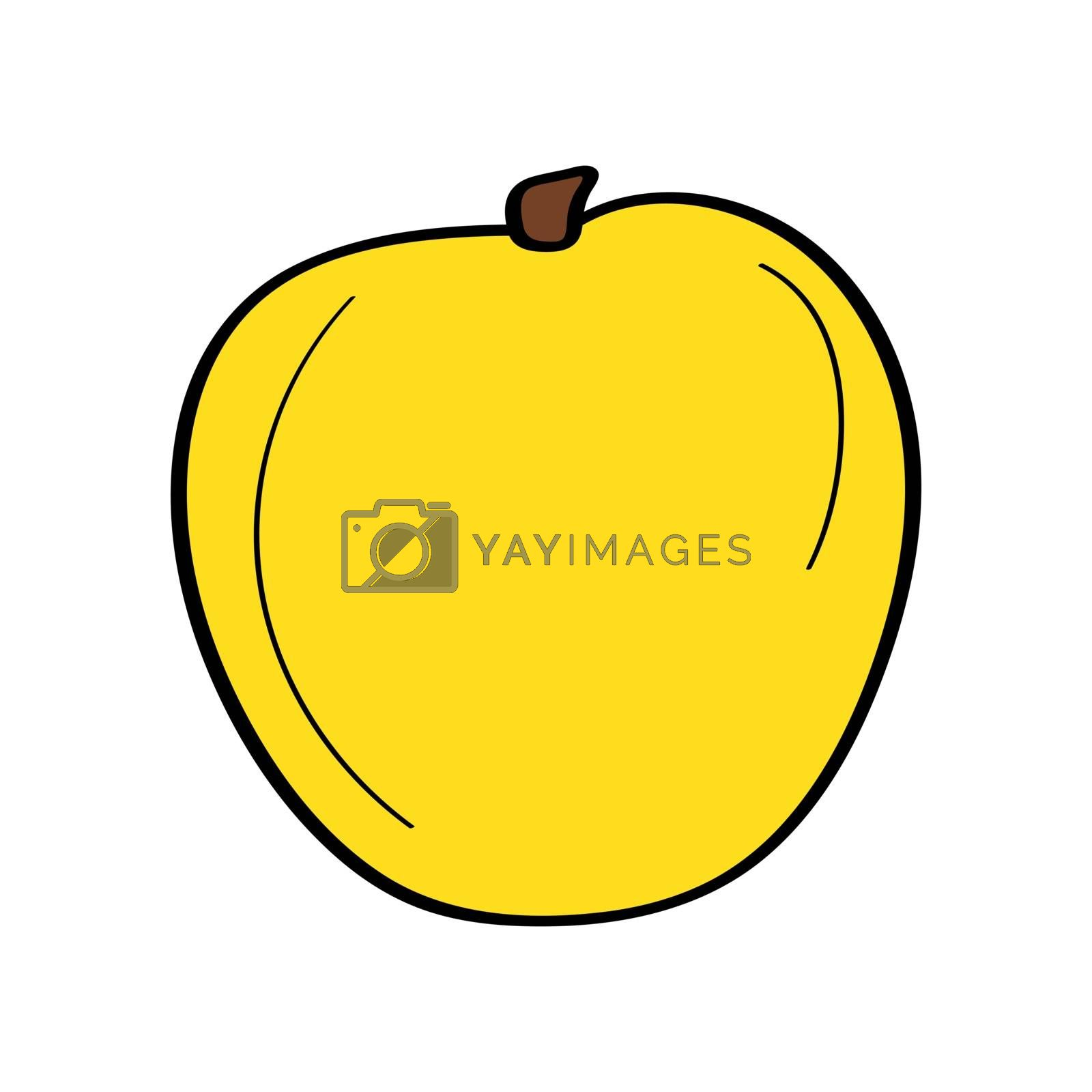 Apple. Hand drawn doodle icon. Colorful vector illustration isolated on white background. Decoration for greeting cards, posters, patches, prints for clothes, emblems.