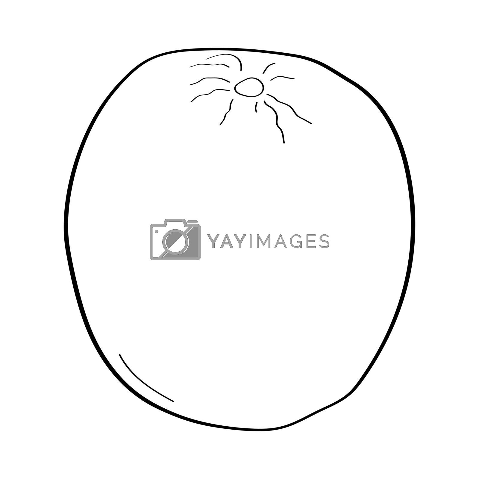 Orange. Hand drawn doodle icon. Vector black and white illustration isolated on white background. Decoration for greeting cards, posters, patches, prints for clothes, emblems.