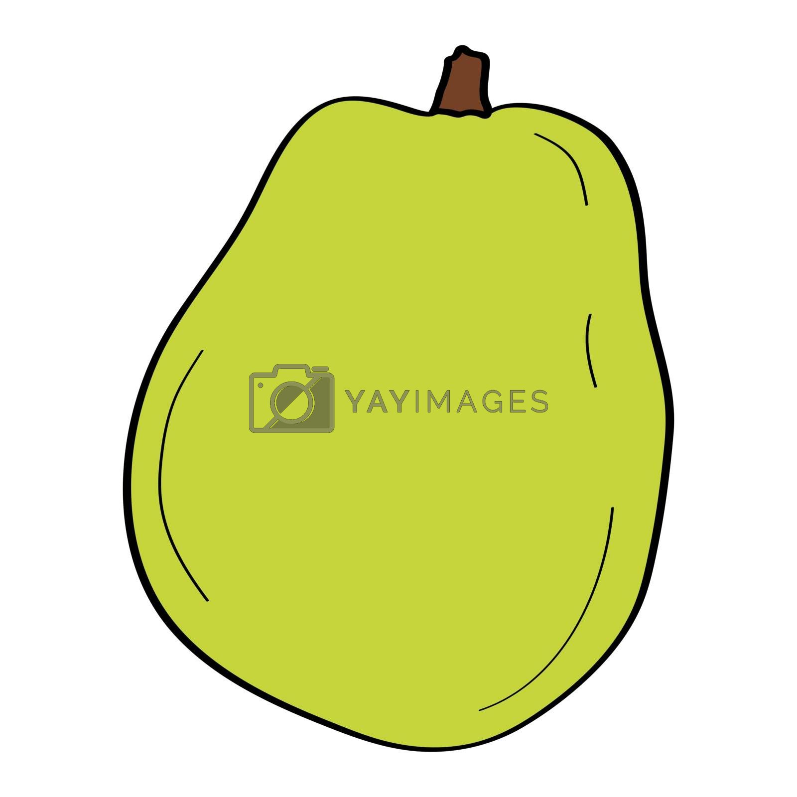 Pear. Hand drawn doodle icon. Colorful vector illustration isolated on white background. Decoration for greeting cards, posters, patches, prints for clothes, emblems.