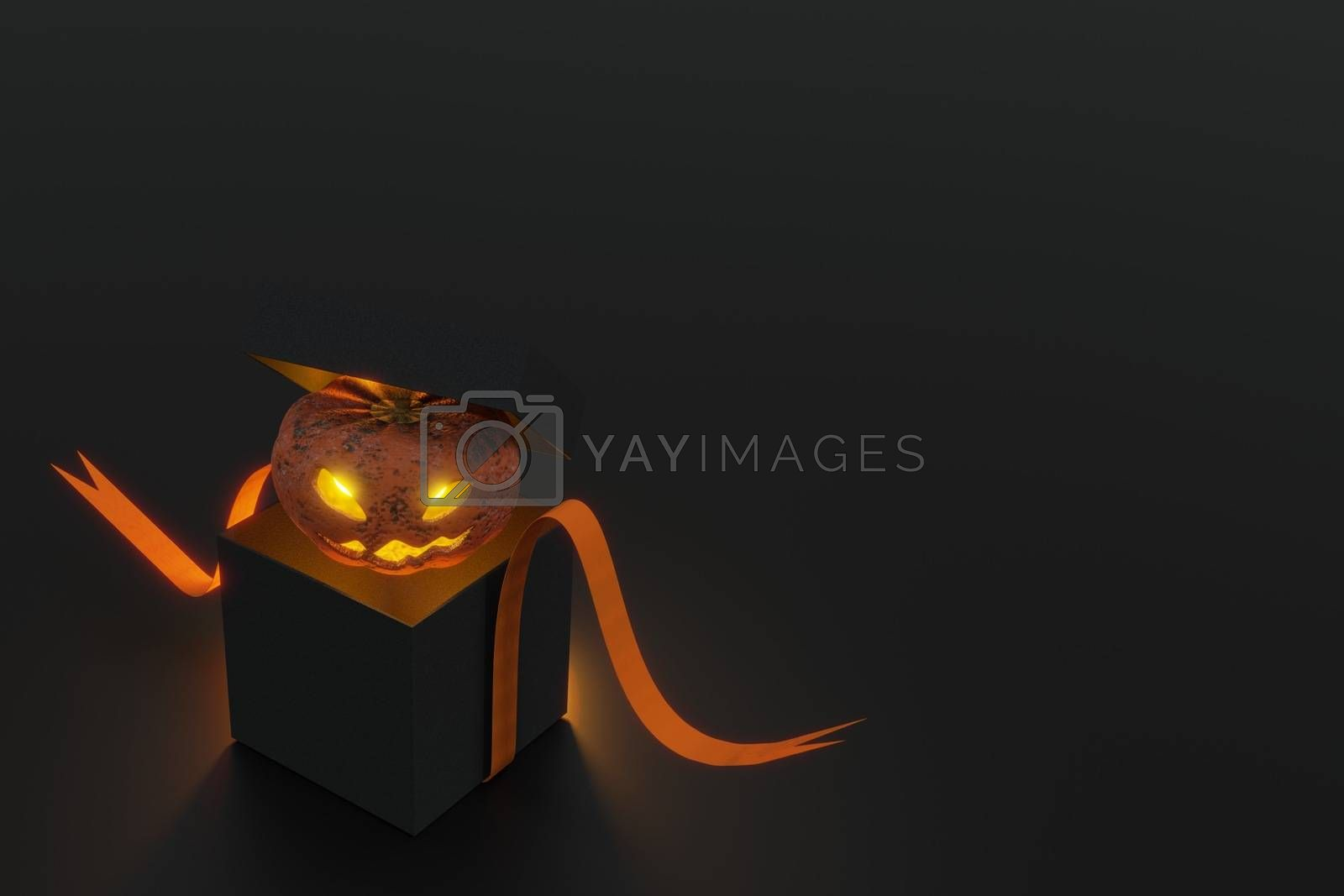 3d rendering ,  Halloween pumpkin in mysterious black box , Concept open gift box and pumpkin ghost or jack-o'-lantern