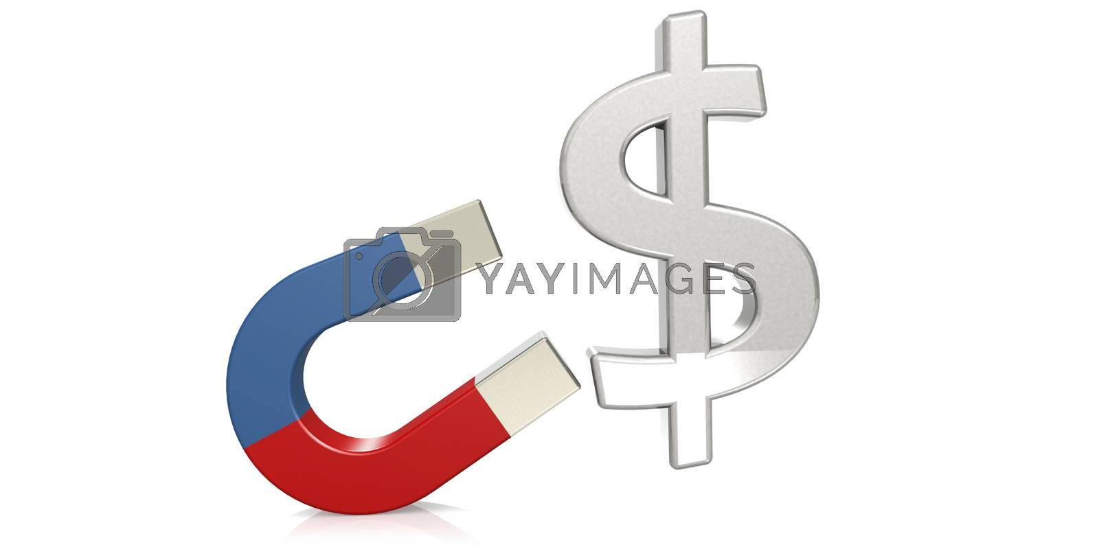 Horseshoe magnet attract dollar sign, 3D rendering