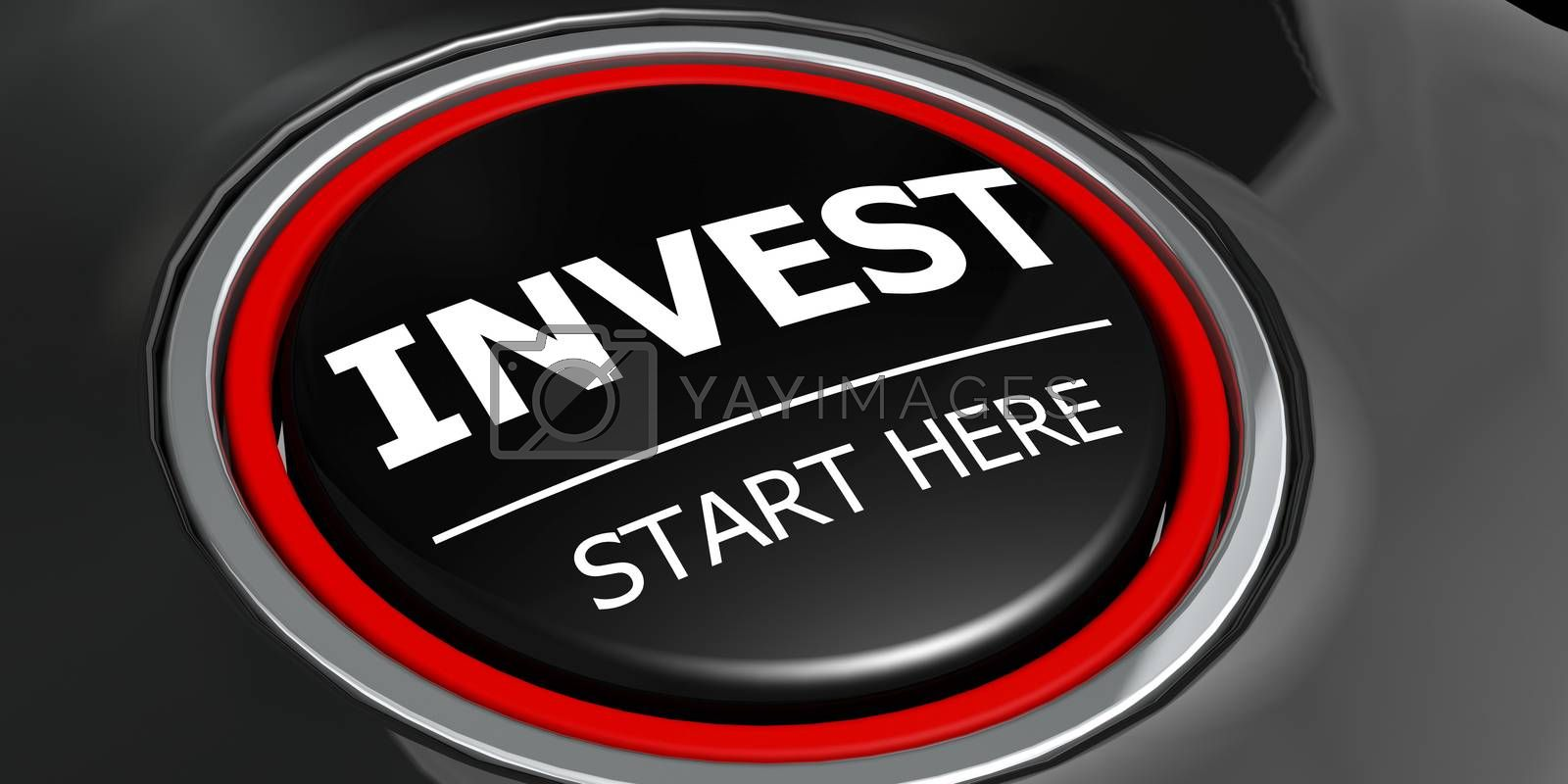 Invest start here button on black background, 3d rendering